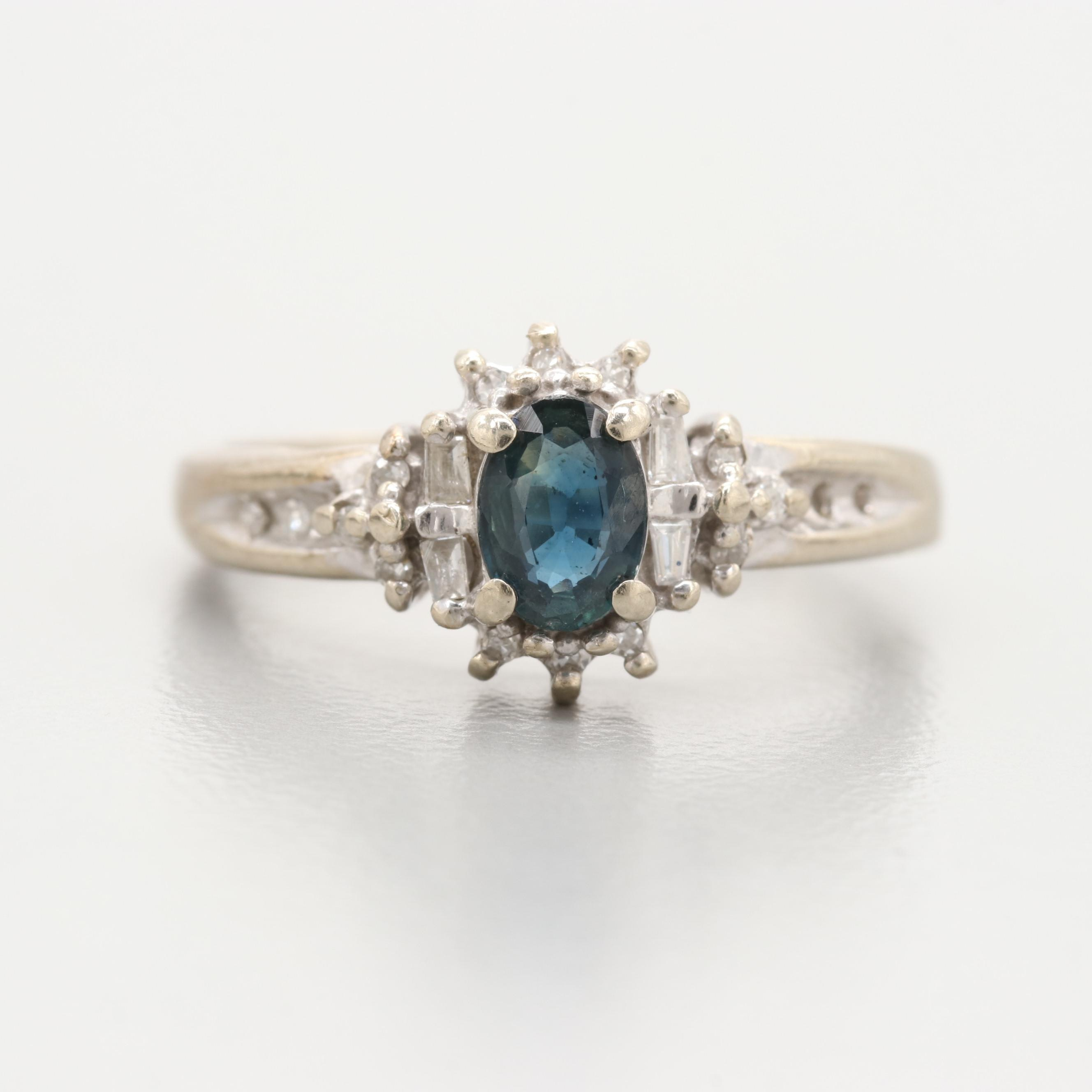 14K Yellow Gold Sapphire and Diamond Ring with White Gold Accents