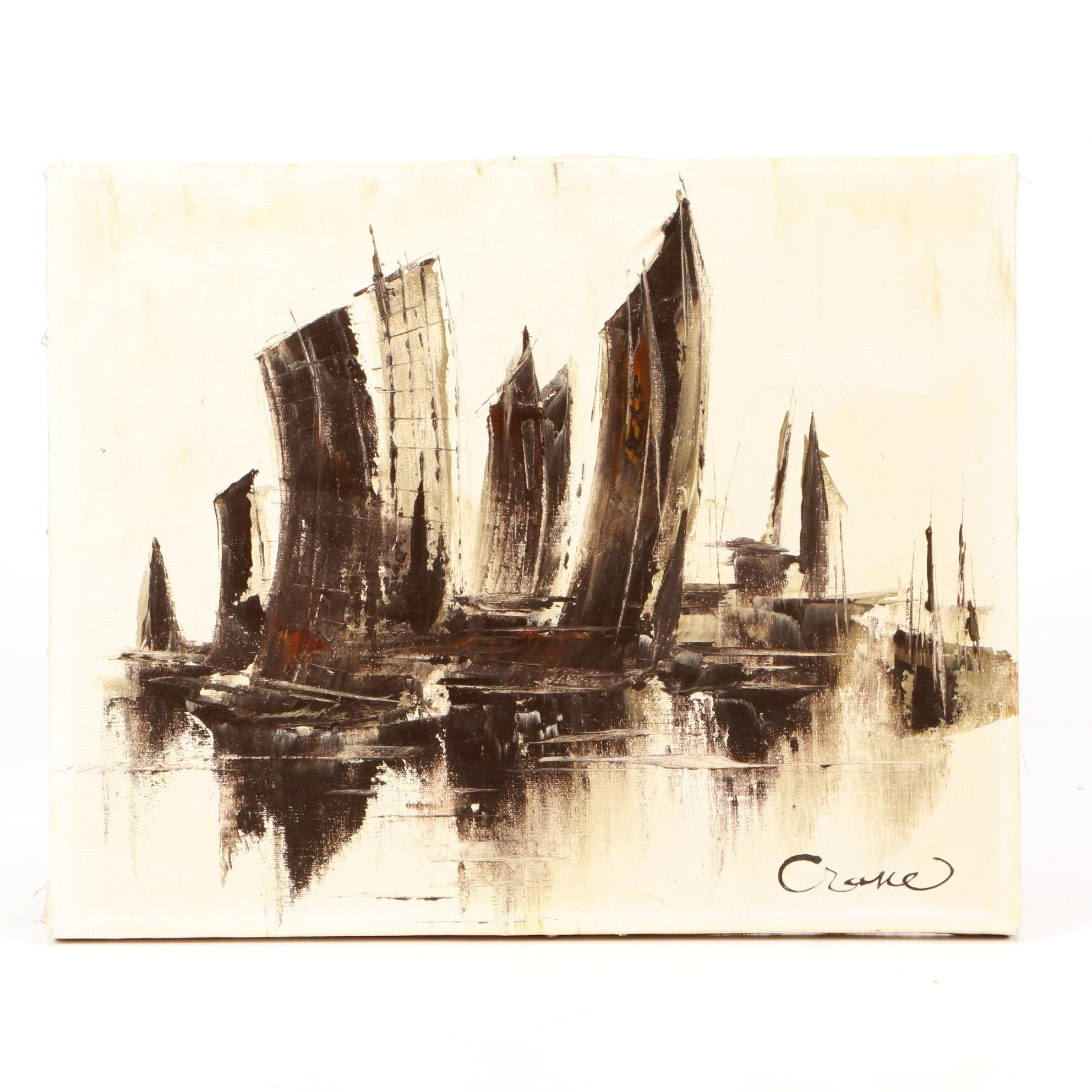 Crane Abstract Oil Painting of Ships in Harbor