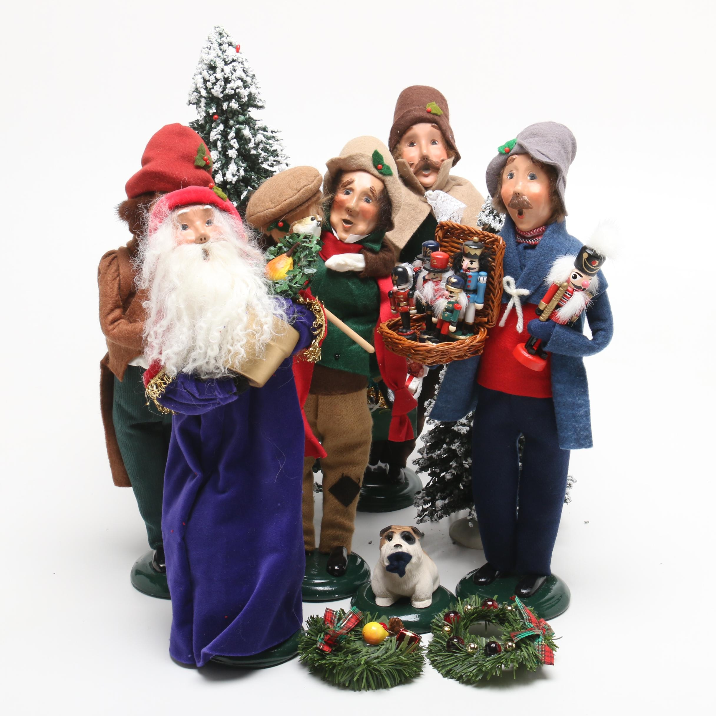 Byers' Choice Carolers with Brush Trees and Dog Figurine