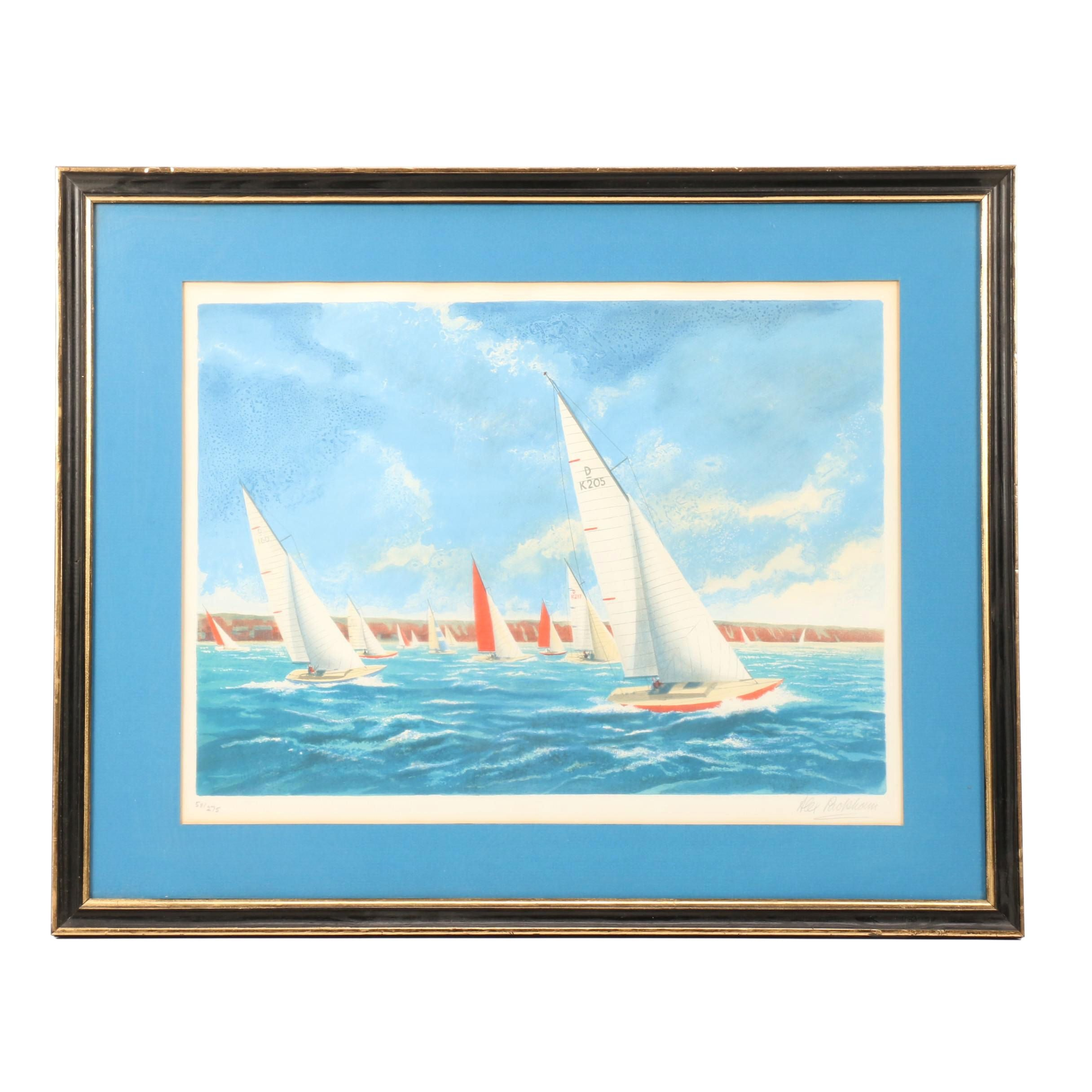 Alex Packham Limited Edition Lithograph of Yacht Race