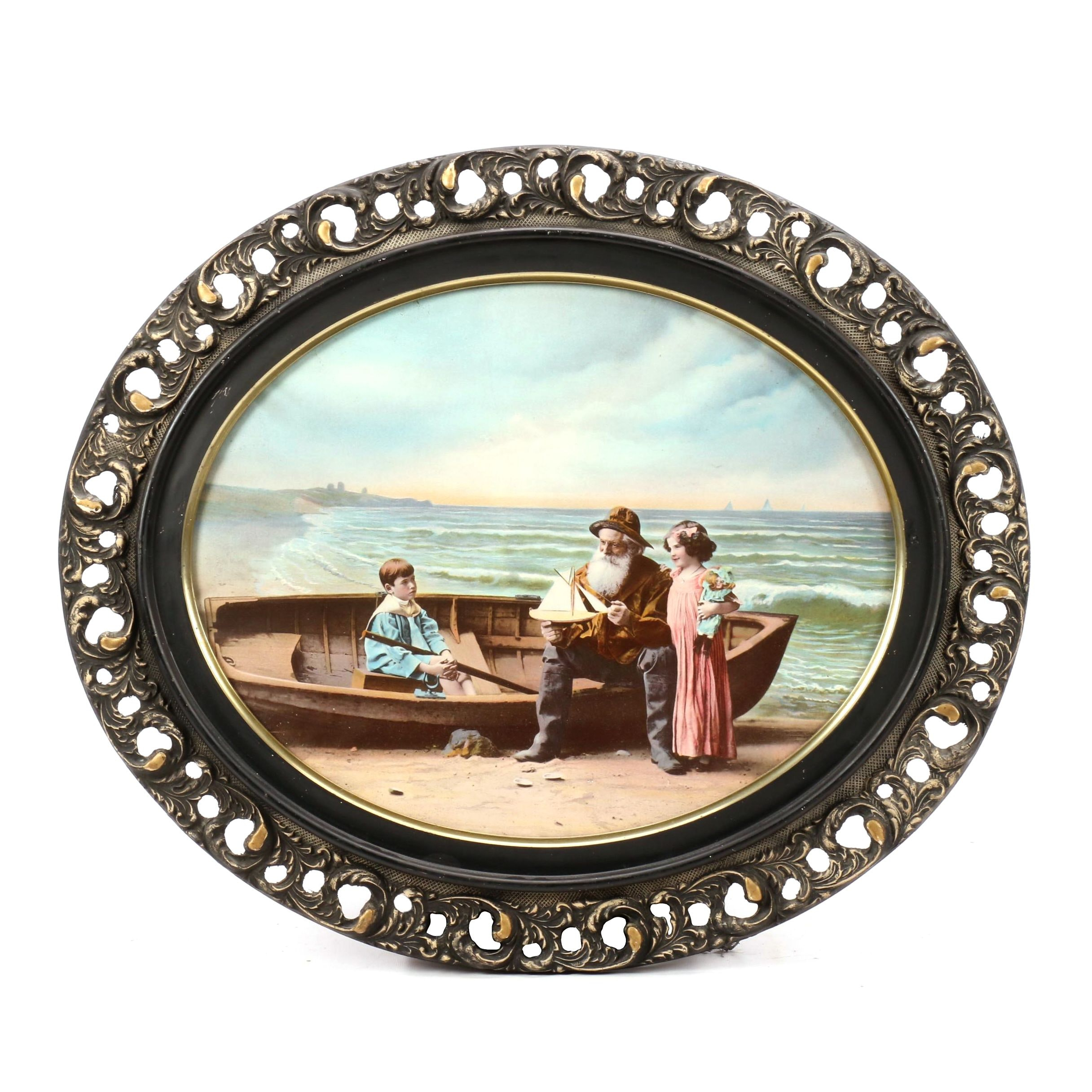 Vintage Offset Lithograph of Sailor and Children with Dinghy on the Beach