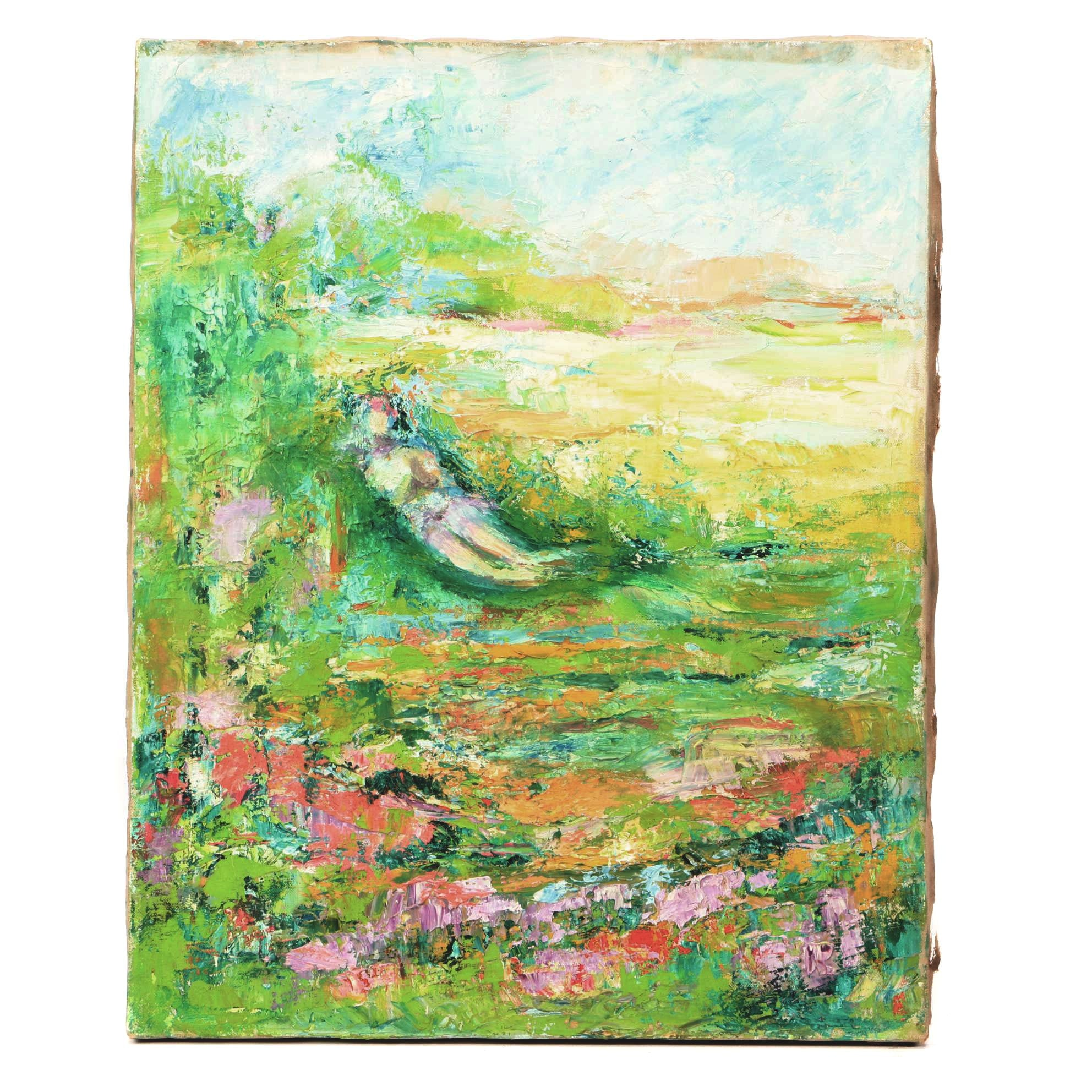 Abstract Oil Painting of Figure in Garden
