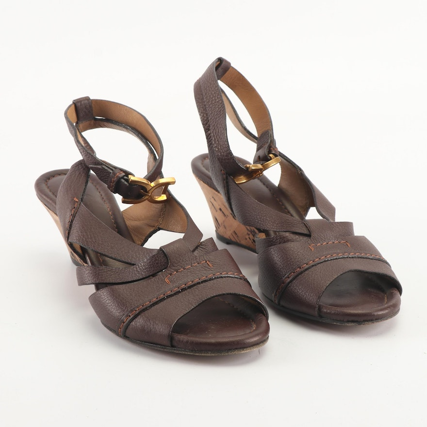 0a948b85a98a Women s Chloé Brown Leather Ankle Strap Cork Wedge Sandals   EBTH