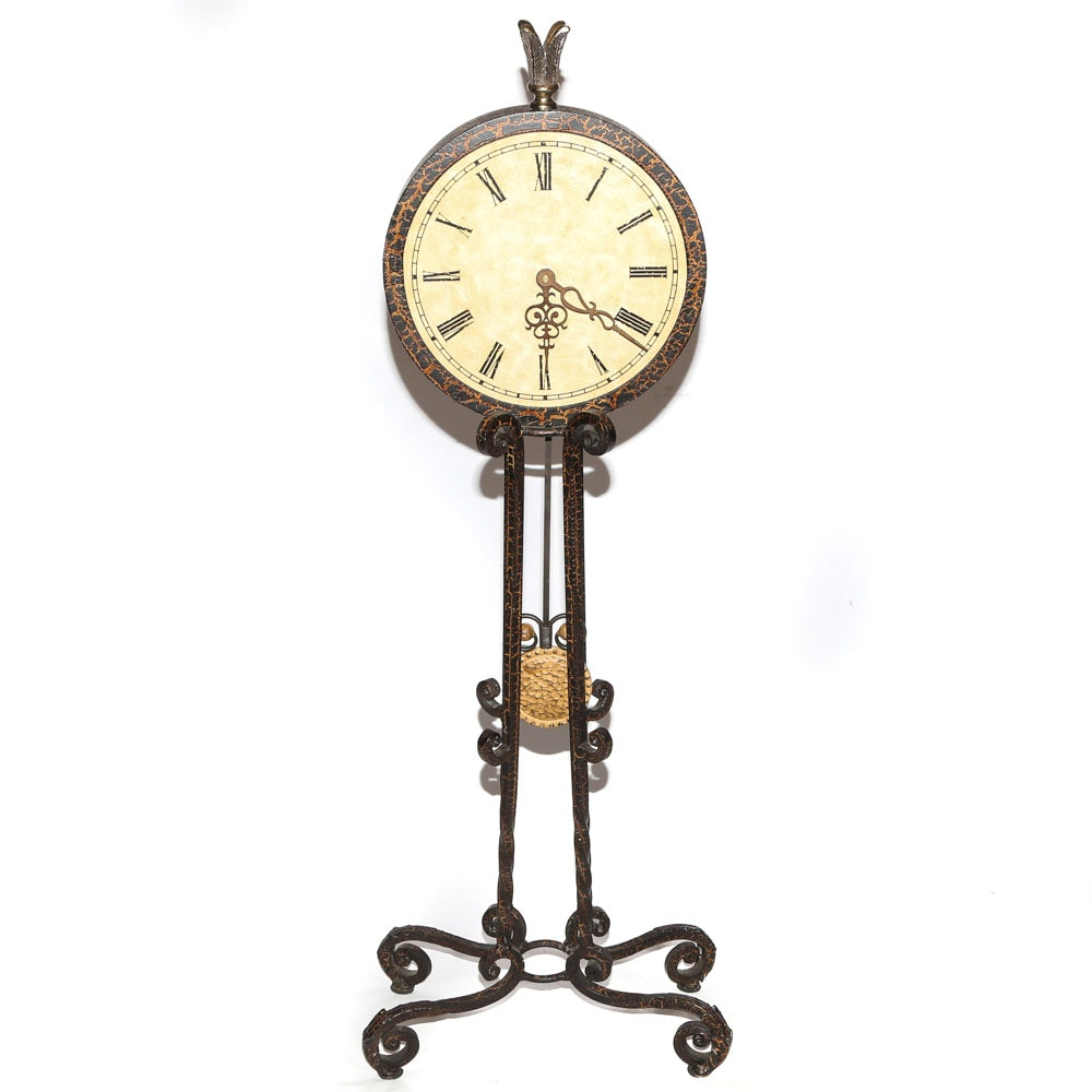 Wrought Iron Pendulum Floor Clock