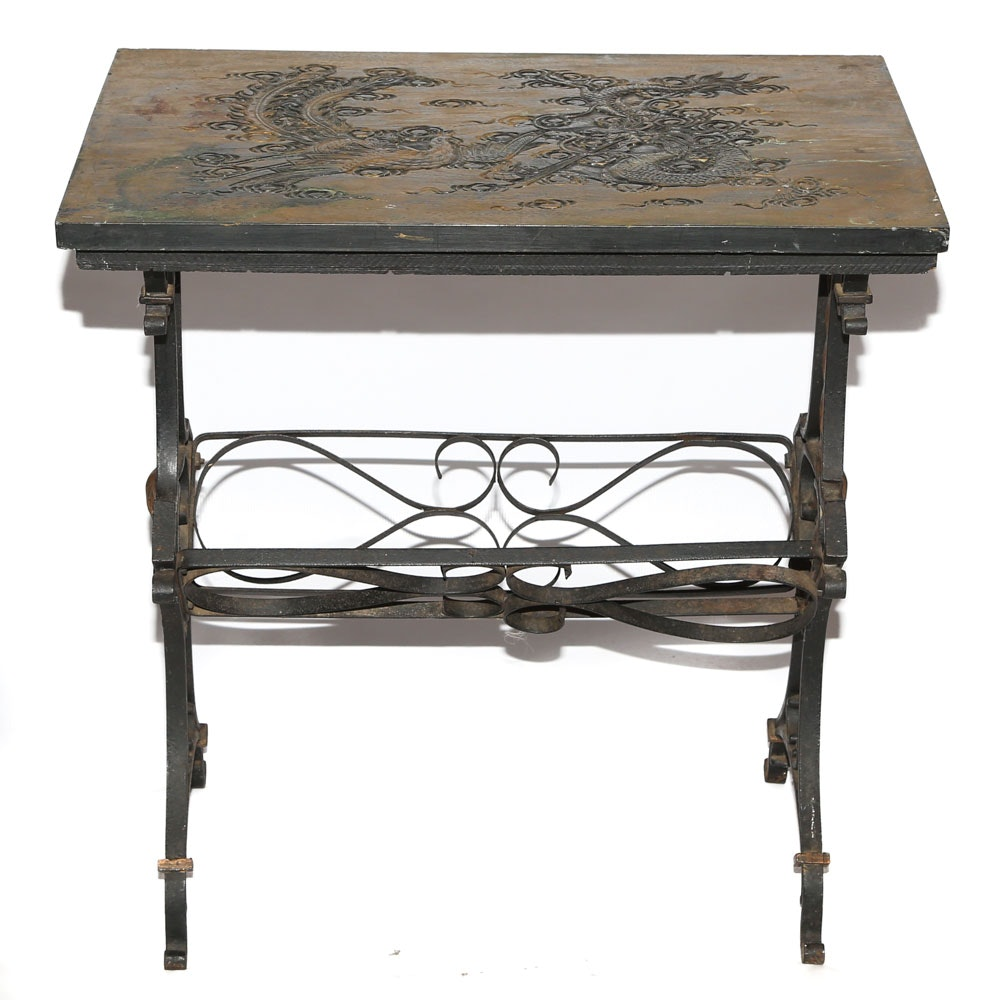 Chinoiserie Metal Frame Side Table with Carved Panel Top, 20th Century