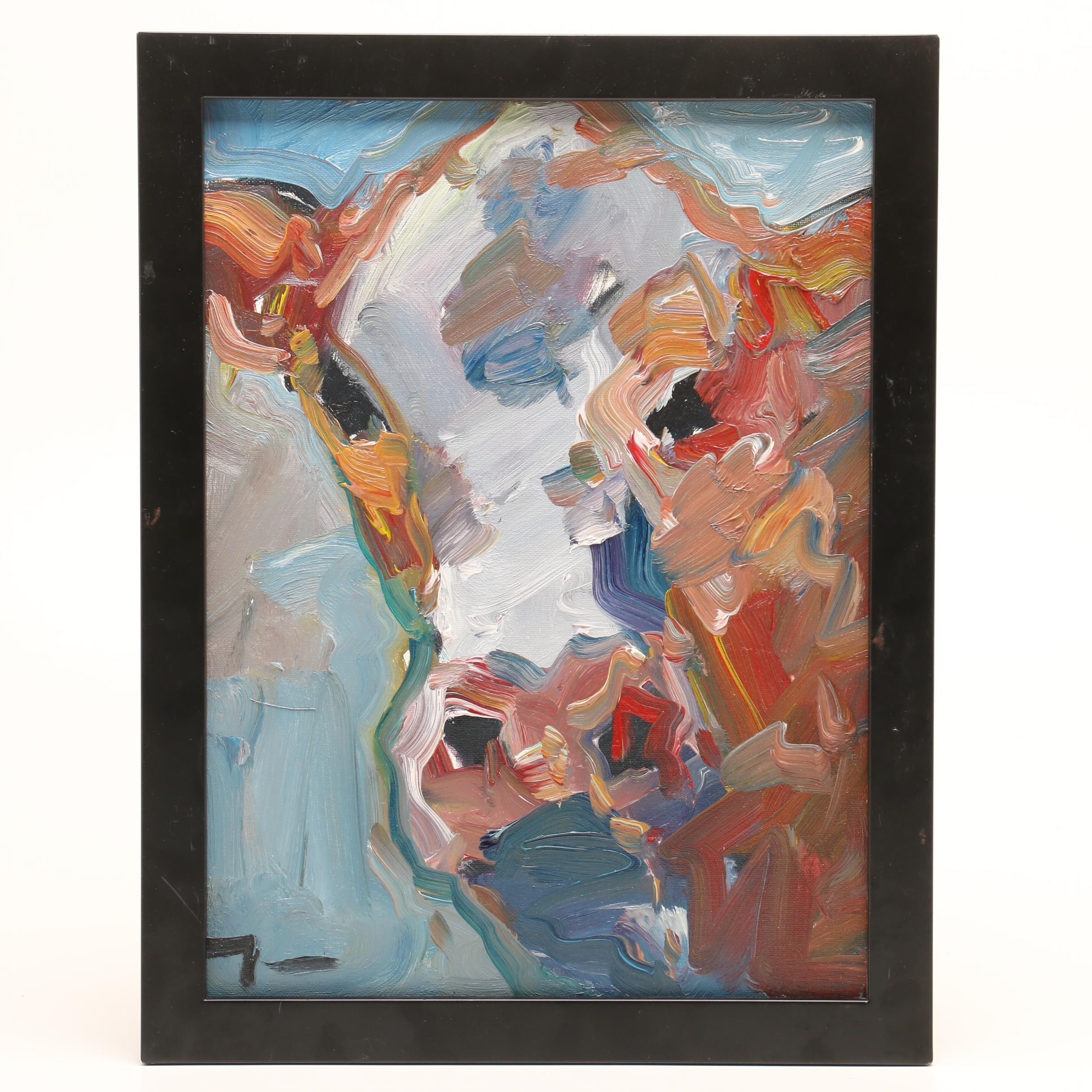 "Jose Trujillo Oil Painting ""Abstract Cow"""