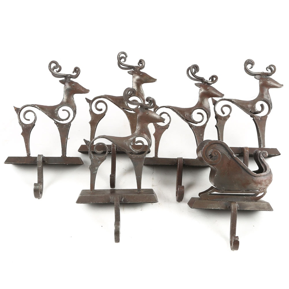 Iron Reindeer and Santa's Sleigh Stocking Hanger Set