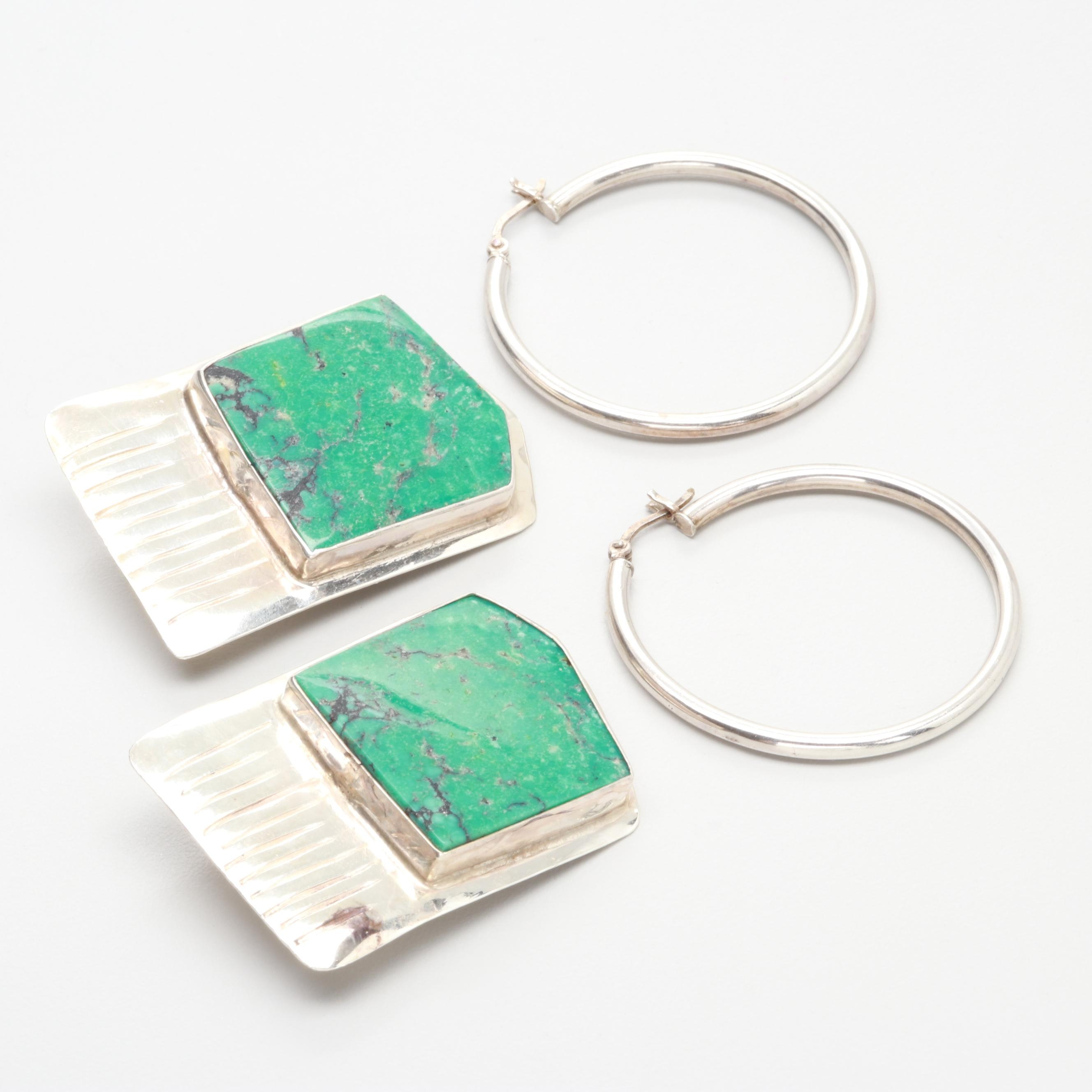 Sterling Silver Earring Assortment with Mathews Sterling Turquoise Earrings