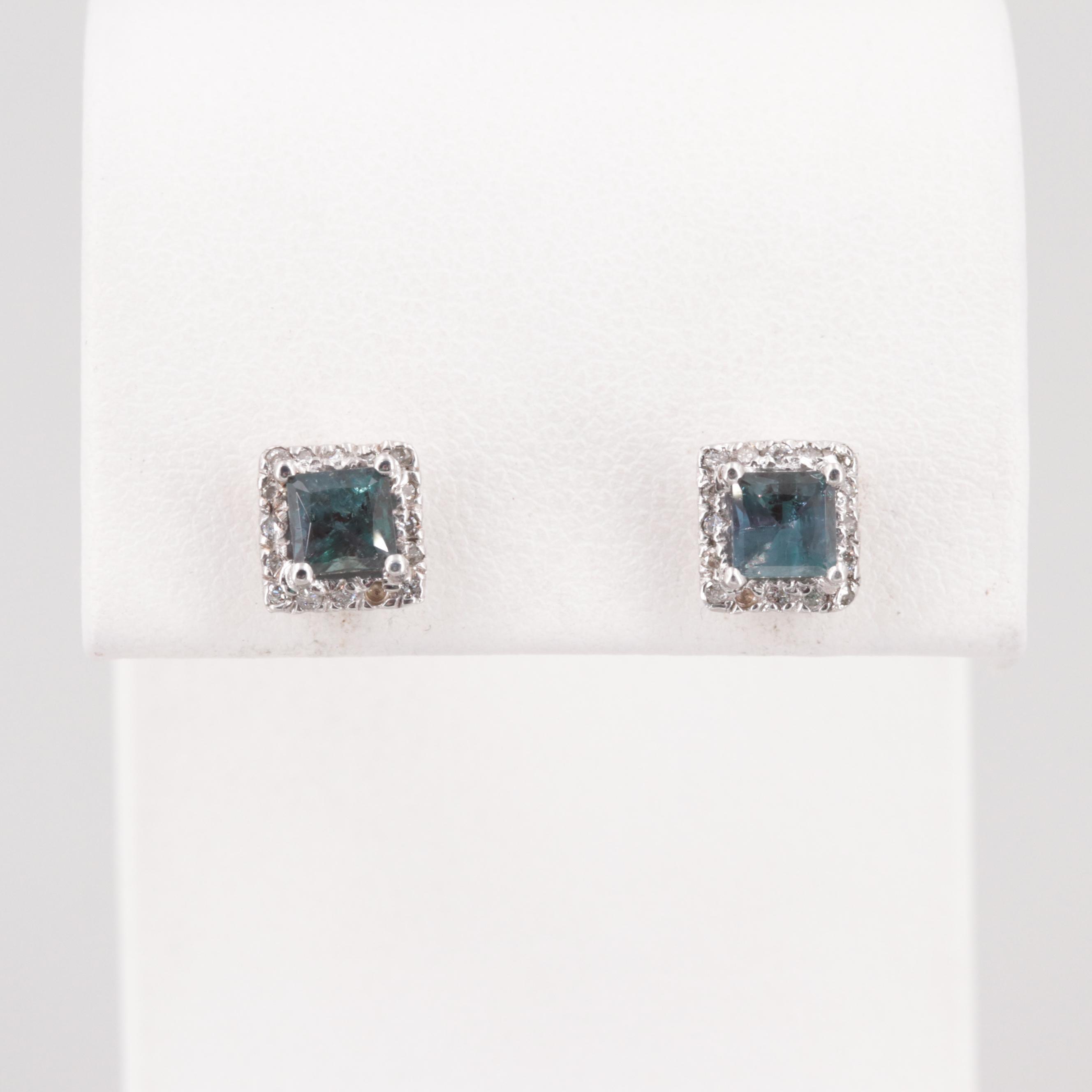 14K White Gold Color Change Alexandrite and Diamond Earrings