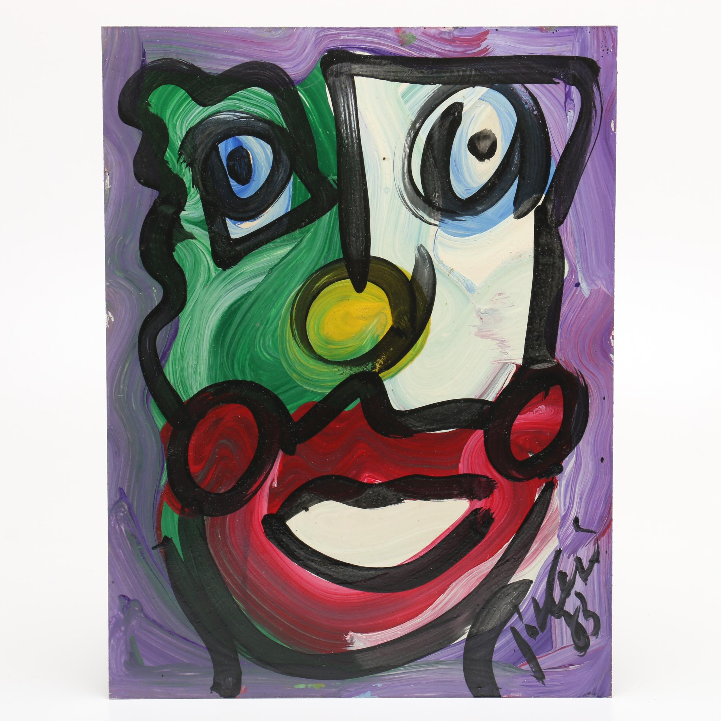 Peter Keil 1983 Abstract Oil Portrait of Clown
