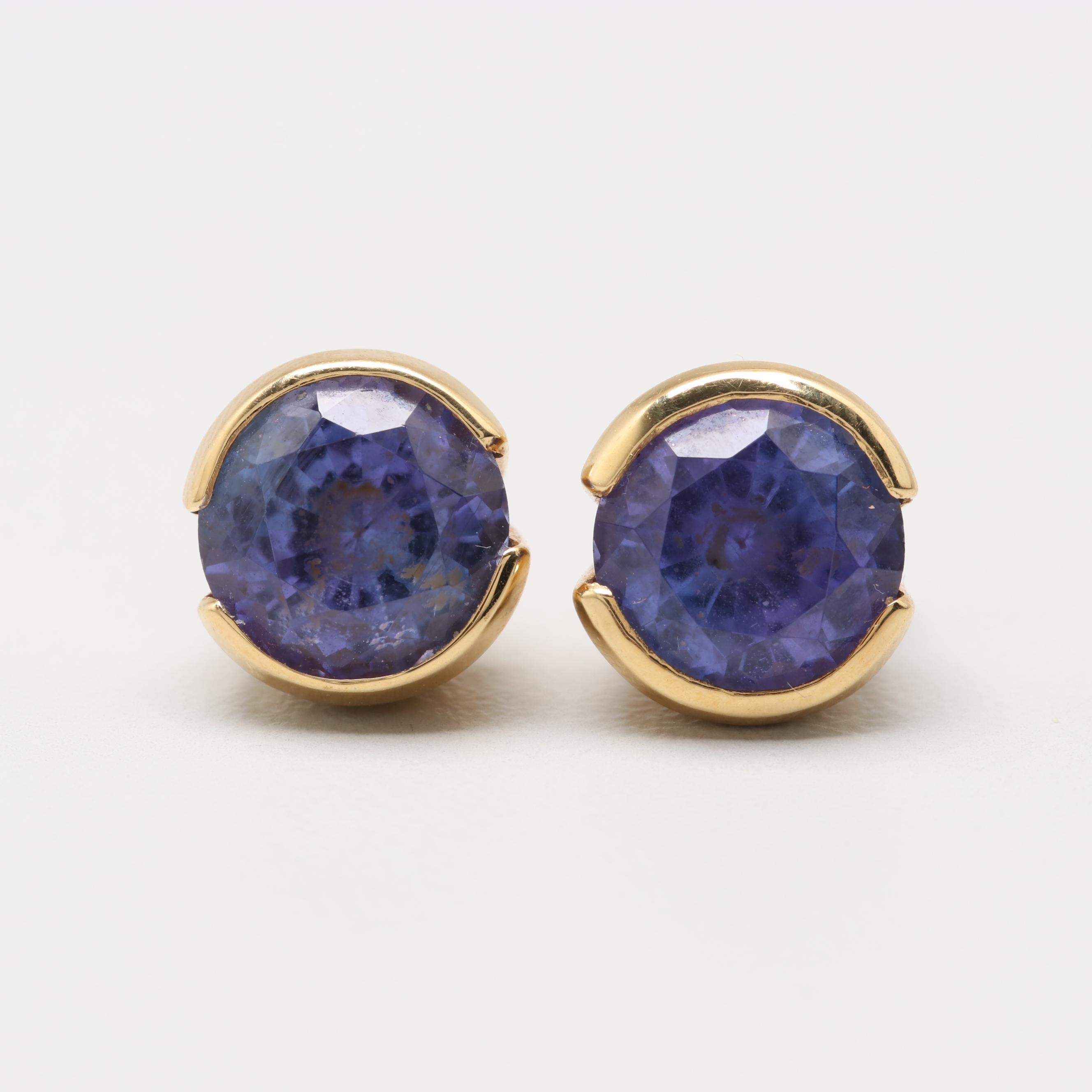 18K Yellow Gold Tanzanite Stud Style Earrings