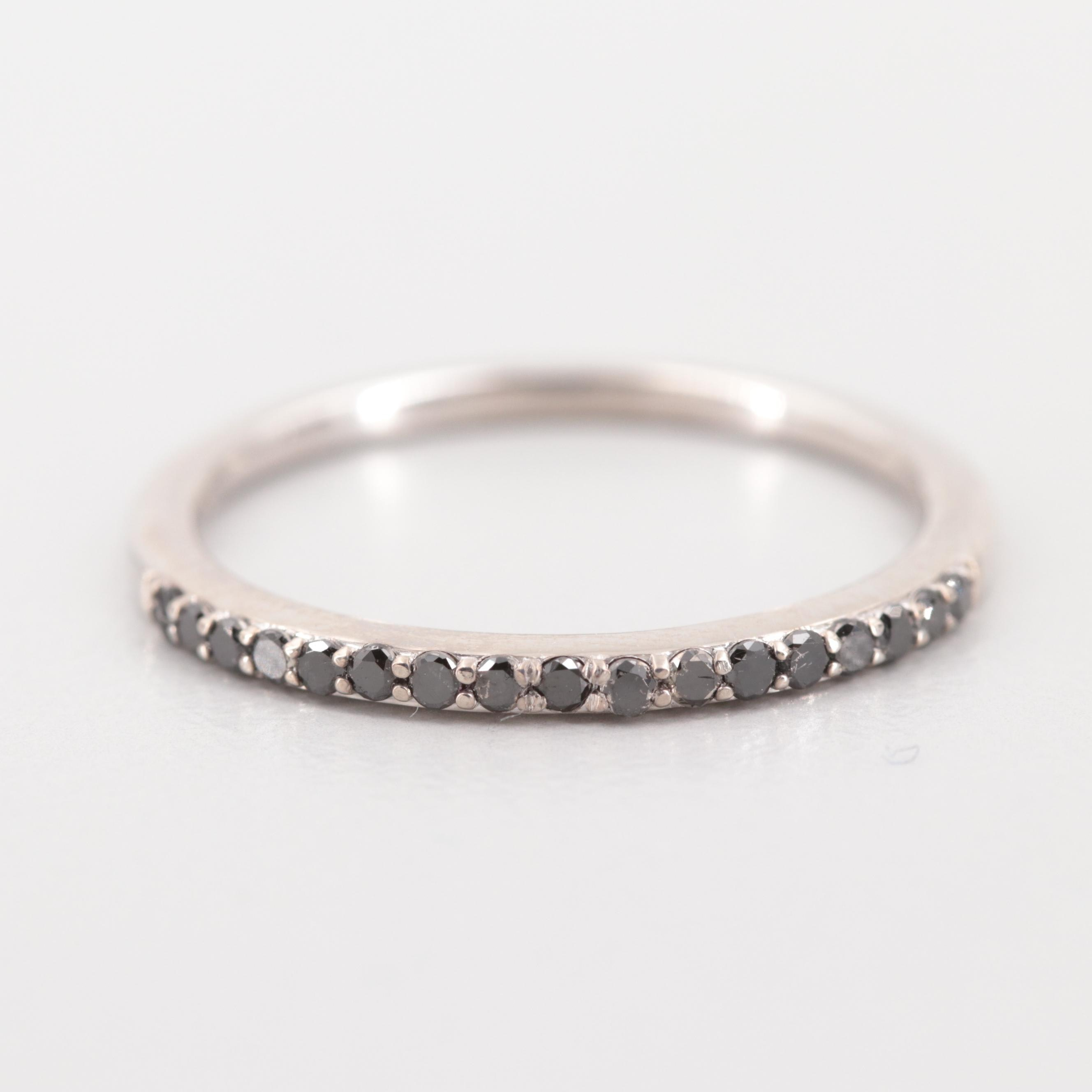 10K White Gold Black Diamond Ring