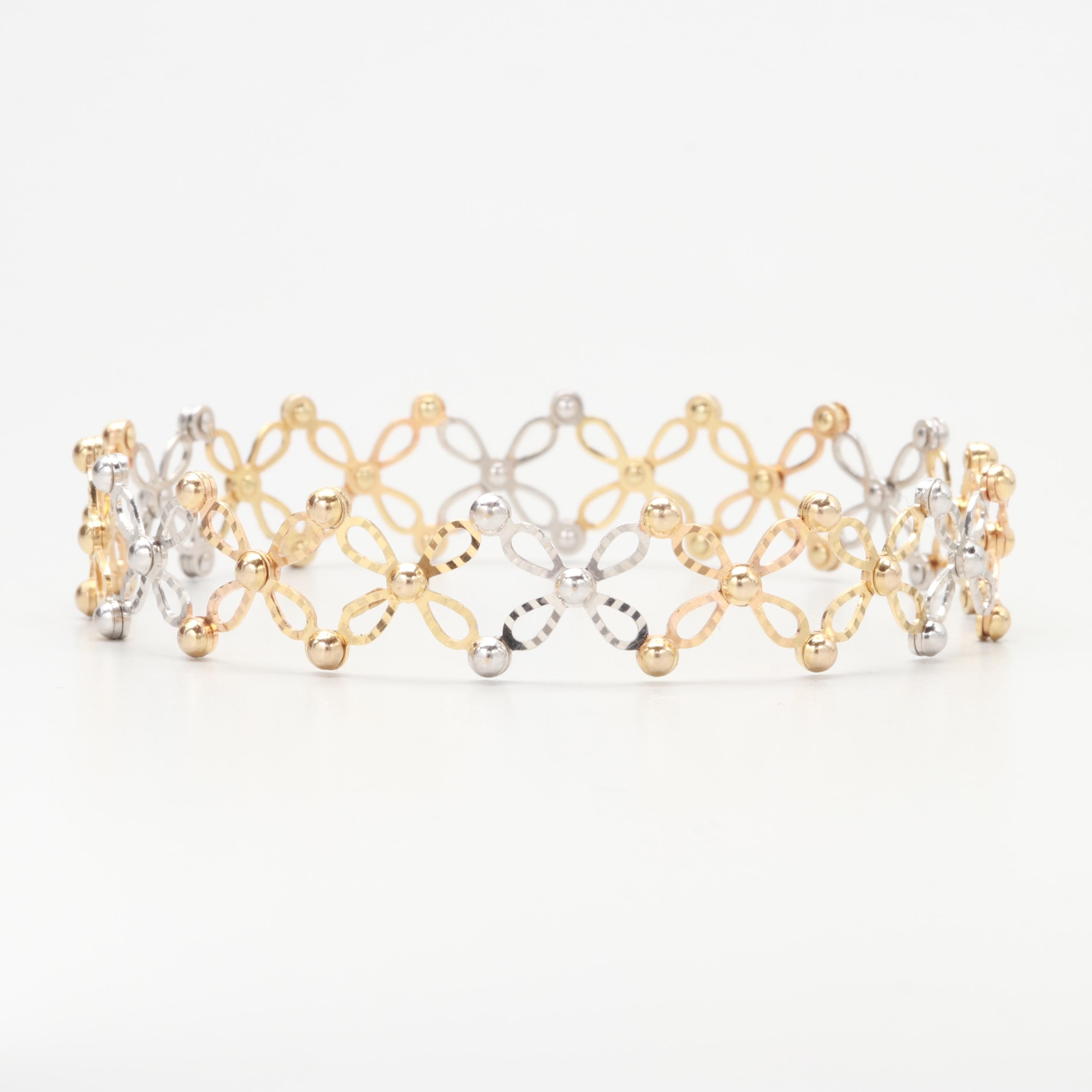 14K Yellow and White Gold Expandable Ring Bracelet