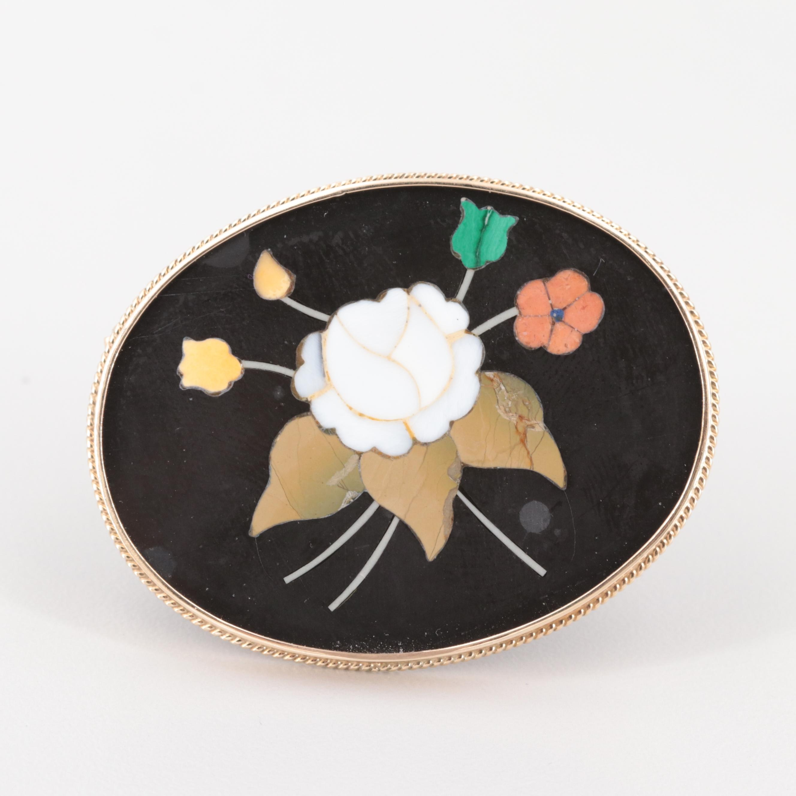14K Yellow Gold Jasper, Malachite and Shell Inlay Floral Brooch
