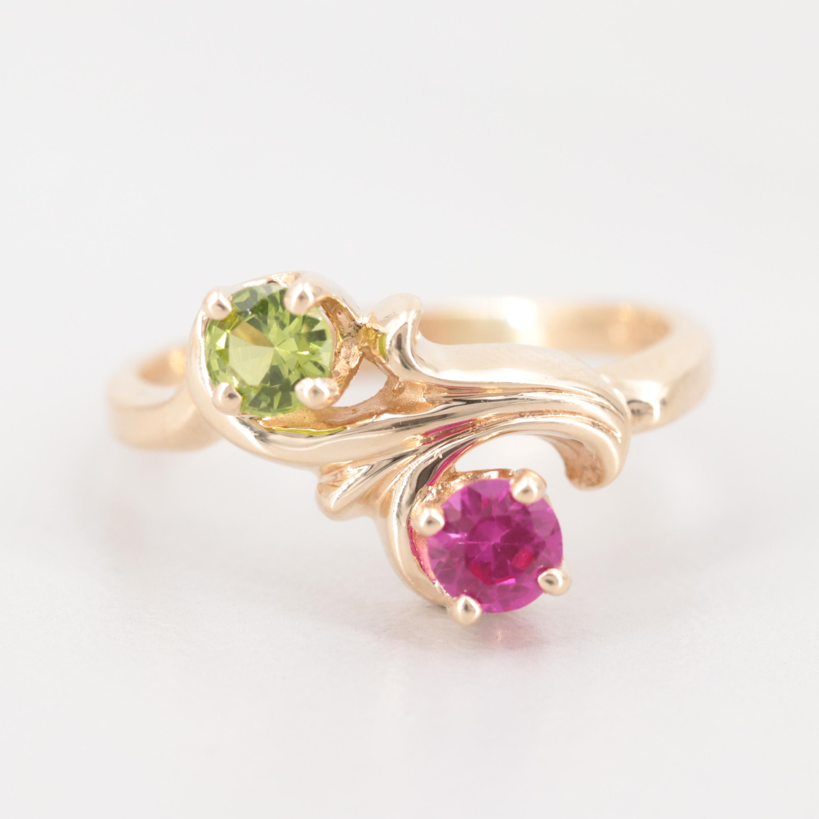 10K Yellow Gold Synthetic Ruby and Synthetic Spinel Triplet Bypass Ring