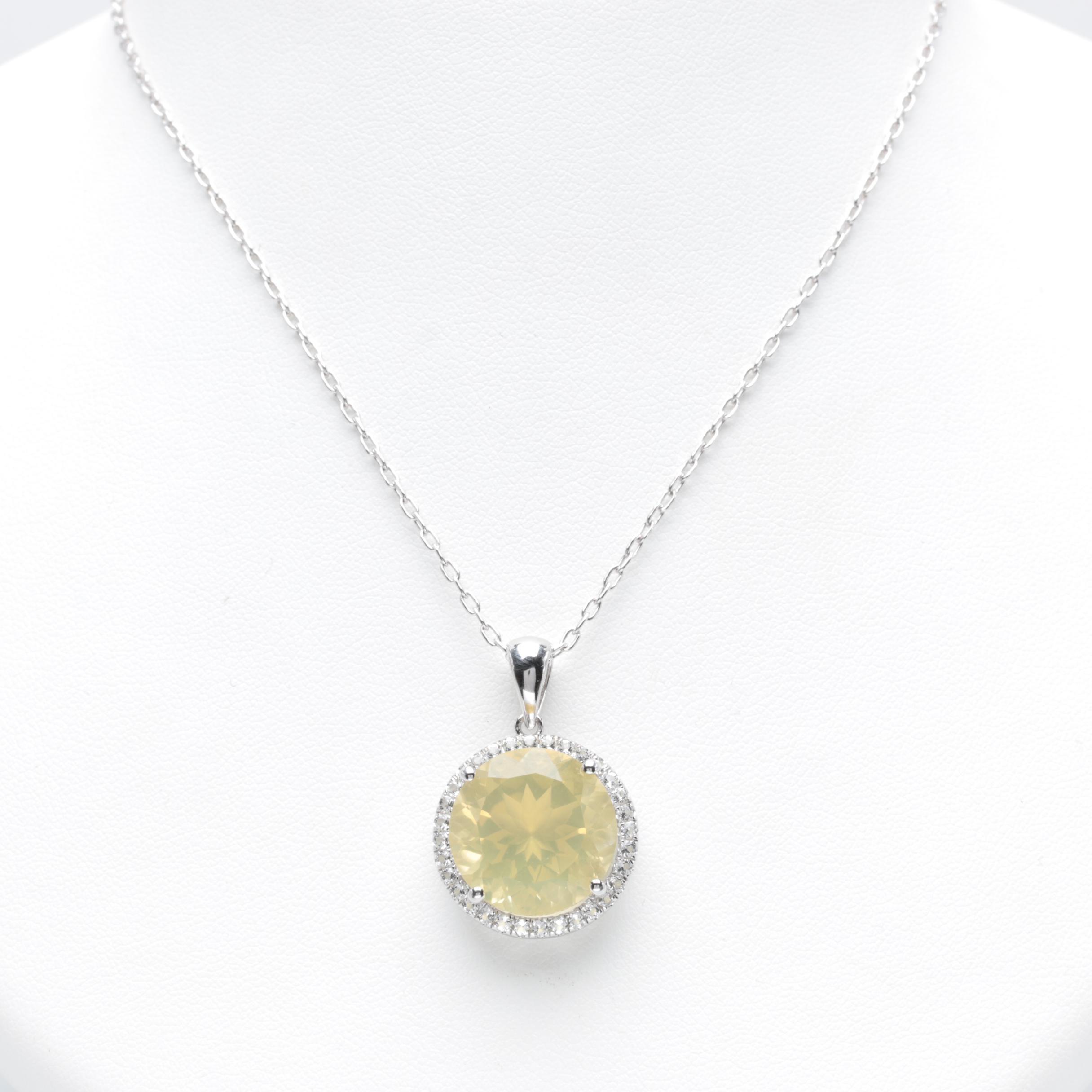 Sterling Silver Lemon Quartz and White Topaz Pendant Necklace