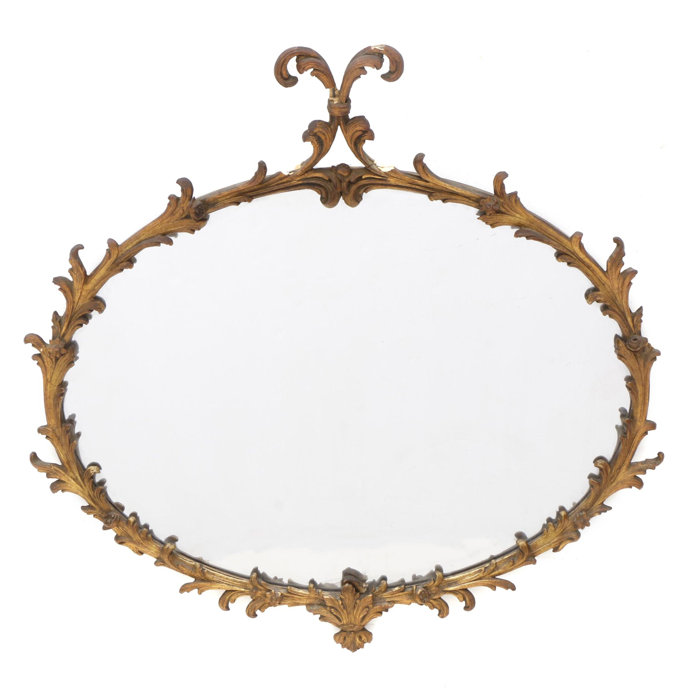 Vintage Oval Gilt Wall Mirror