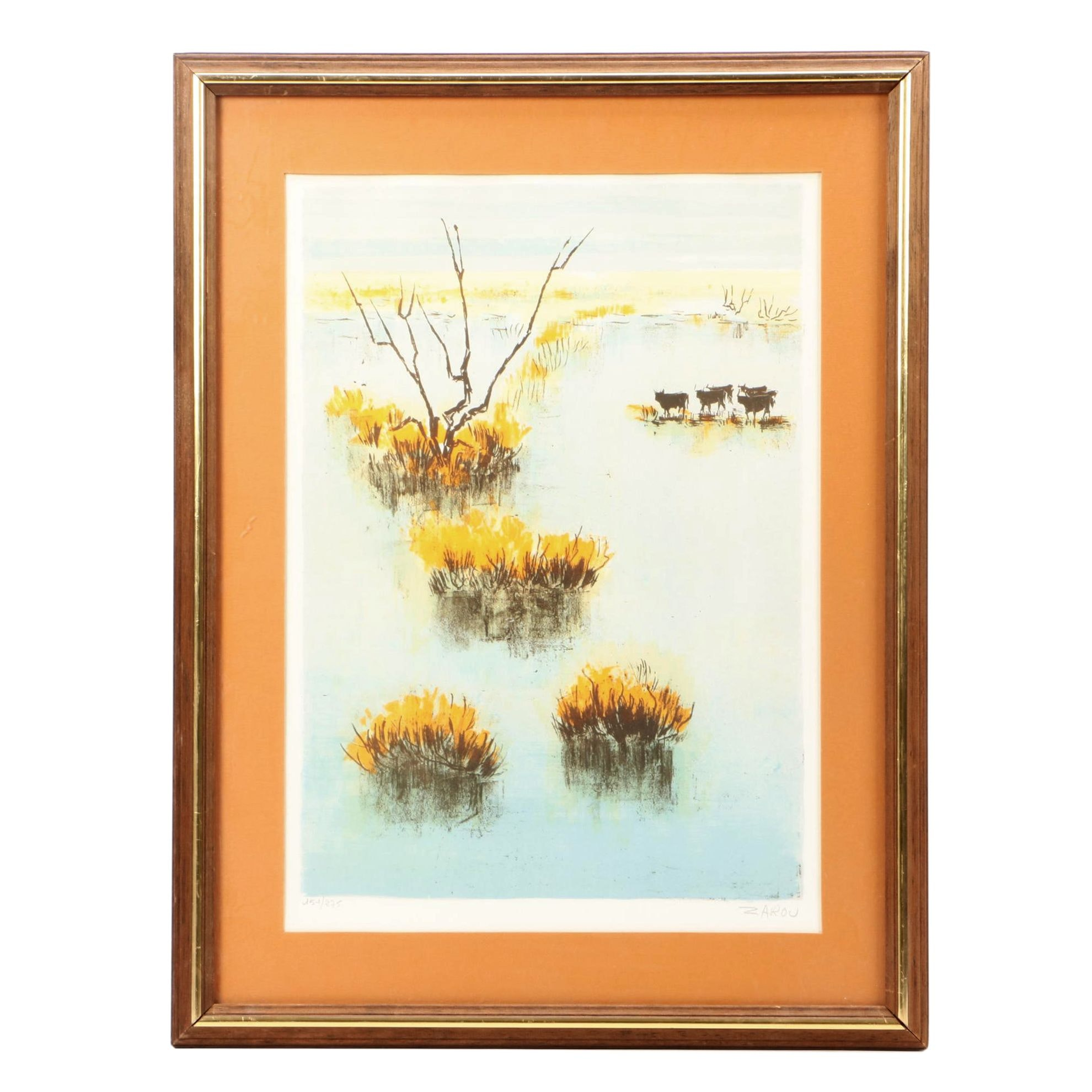 Victor Zarou Limited Edition Lithograph of Cattle in Marshy Landscape
