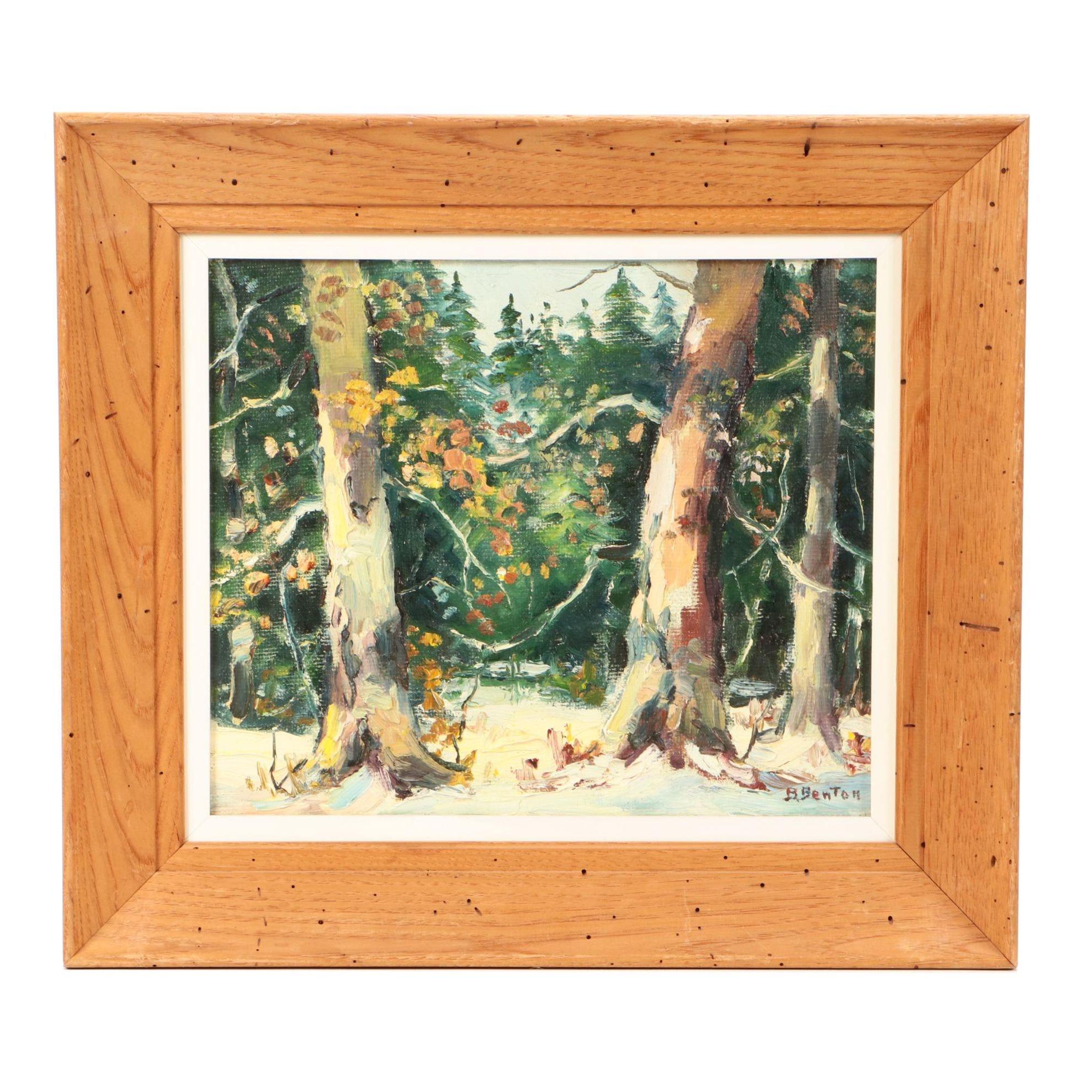 B. Benton Mid-Century Oil Landscape Painting