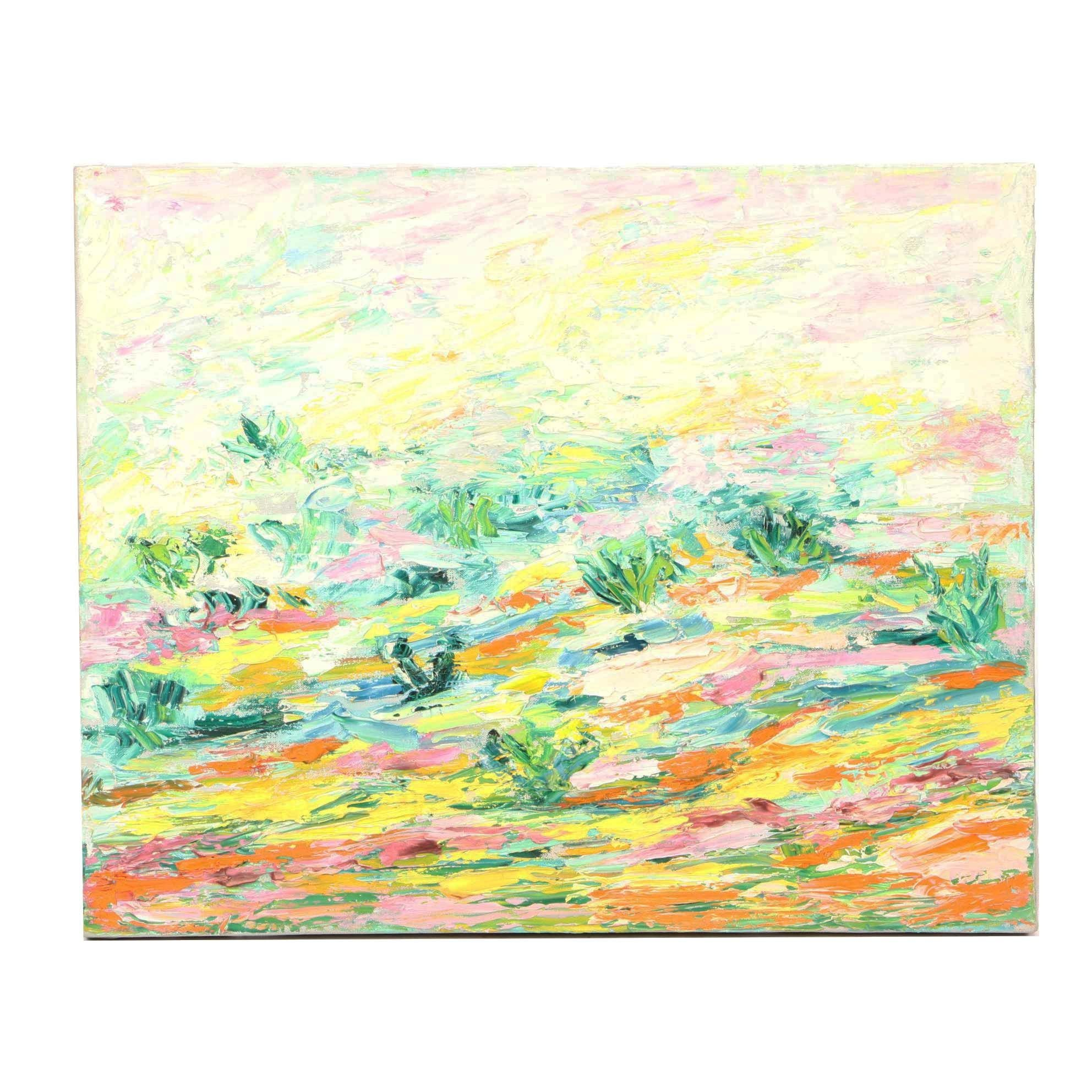 Abstract Impasto Oil Painting of Garden Landscape