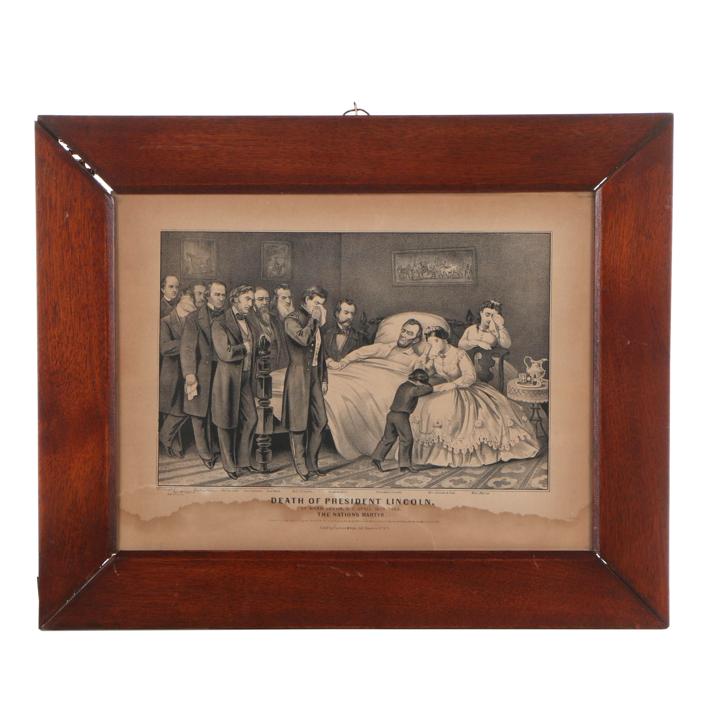 "Currier and Ives Lithograph ""Death of President Lincoln"""