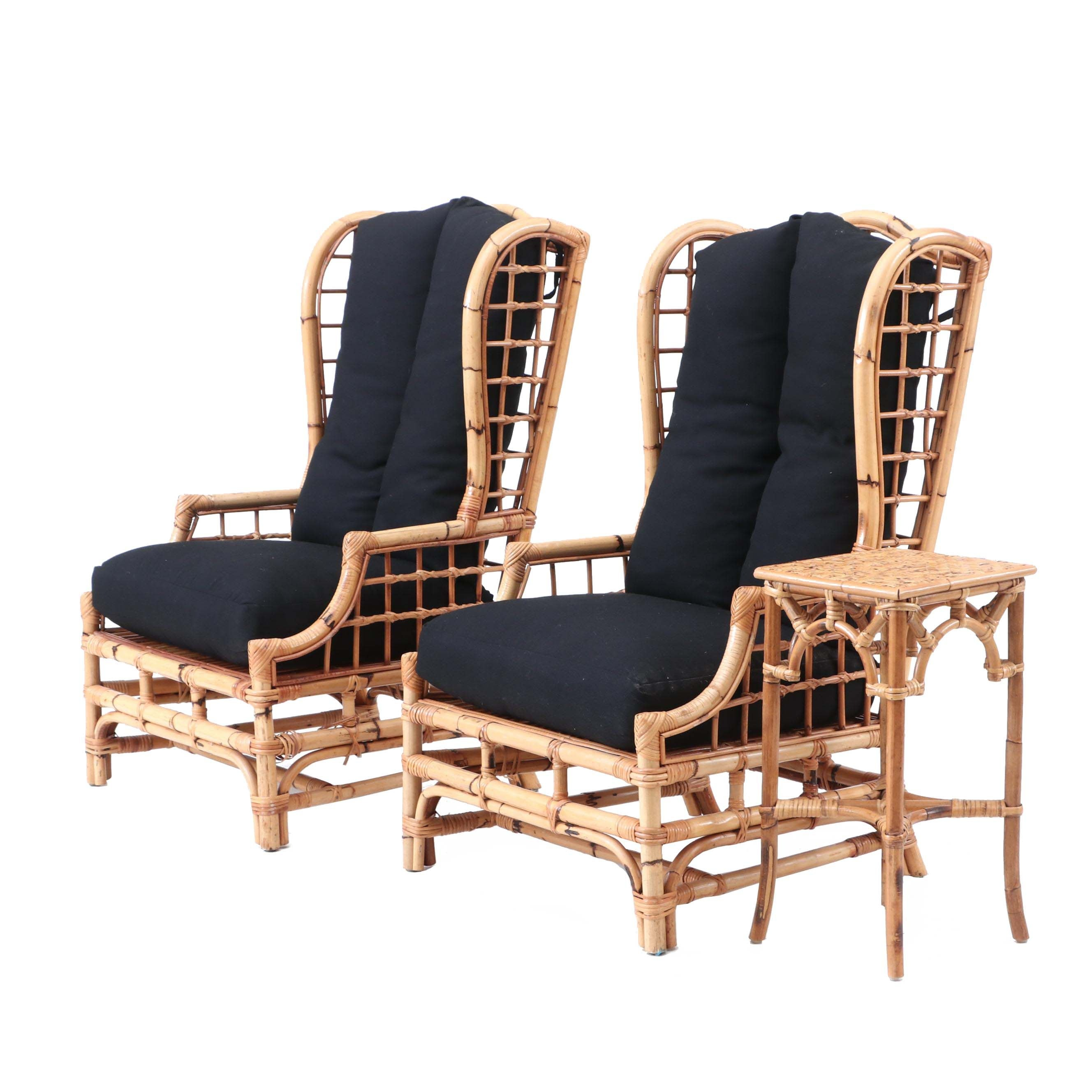 Two Wingback Rattan Chairs by McGuire