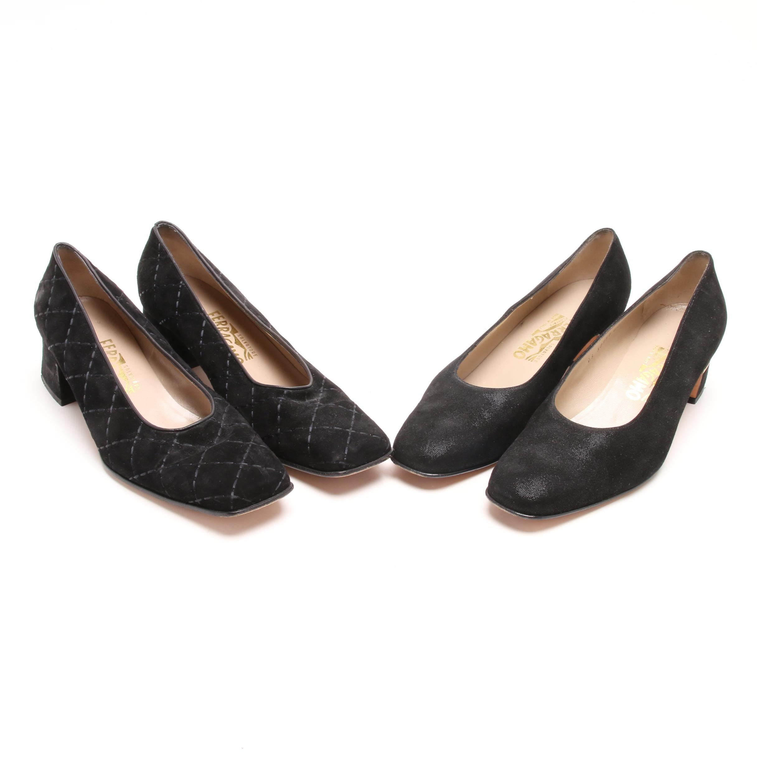 Two Pair of Women's Salvatore Ferragamo Suede Low-Heeled Shoes