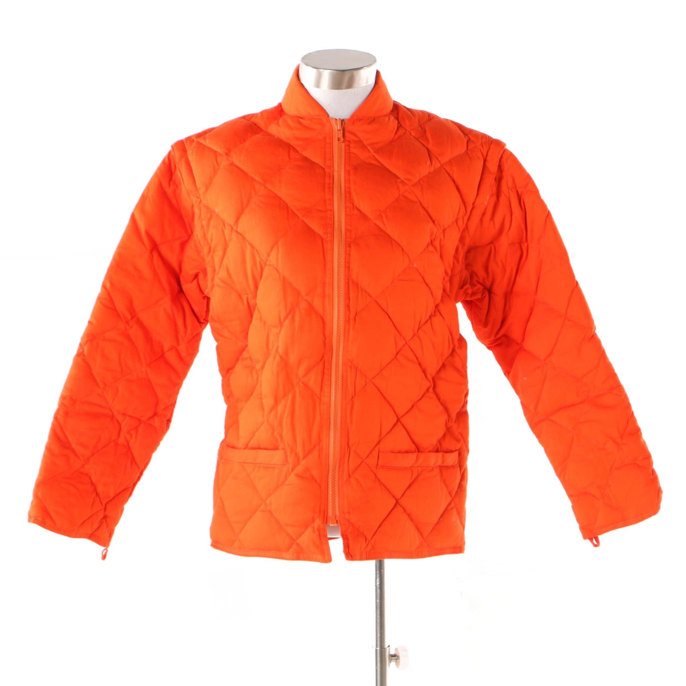 Women's J. Crew Orange Quilted Down Jacket