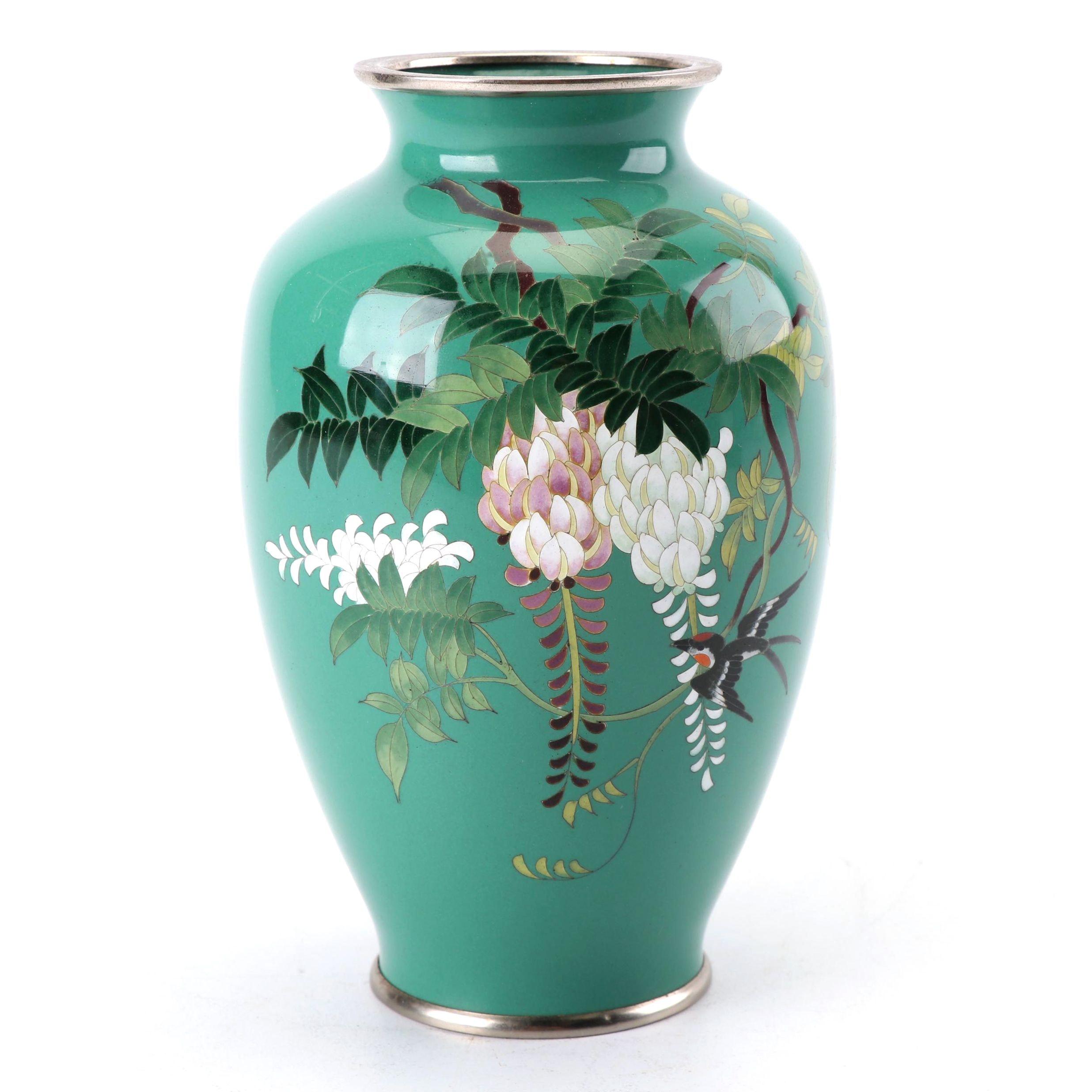 Japanese Cloisonné Wisteria Motif Vase