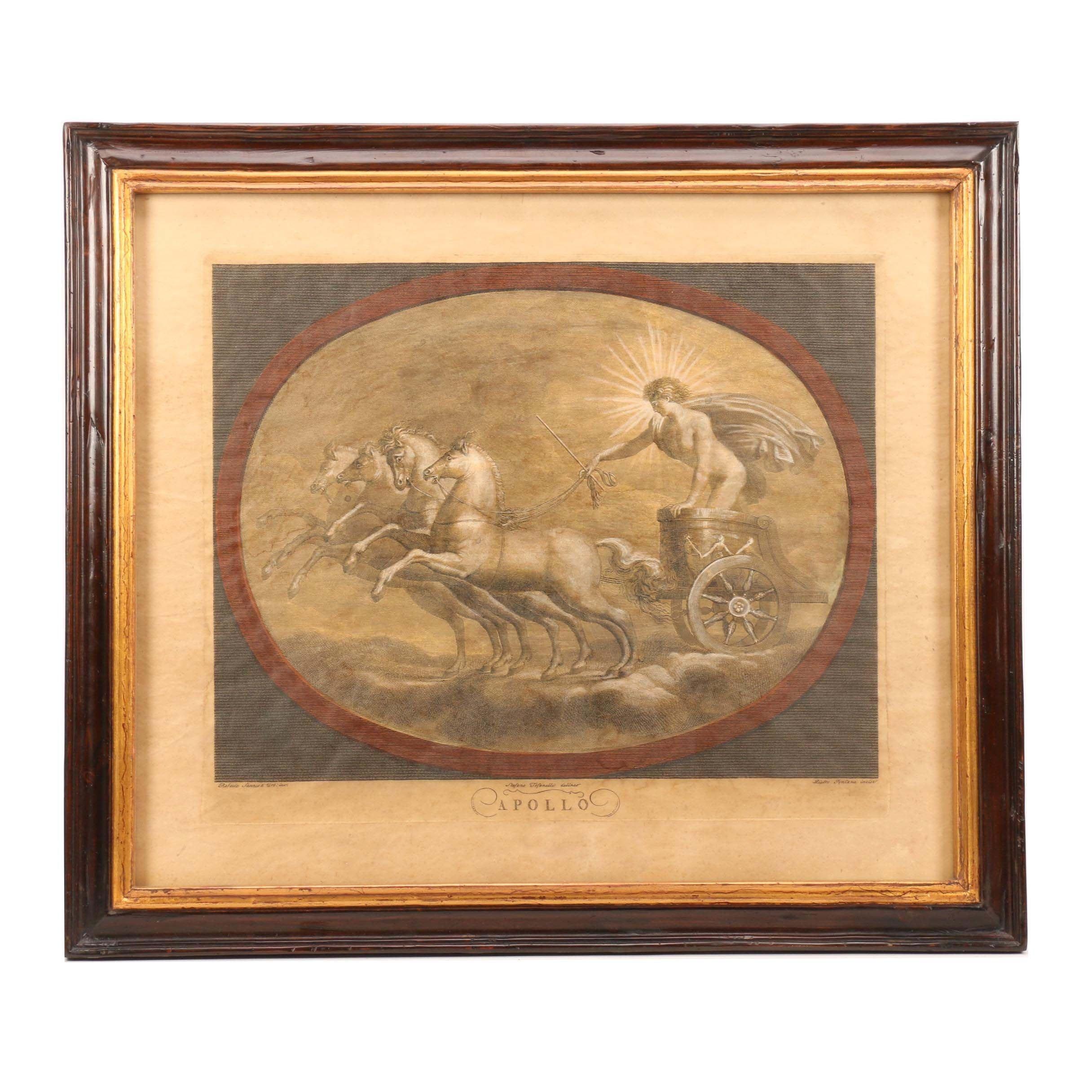 "Trevor James Lithograph after Raphael Sanzio d'Urbino ""Apollo"""