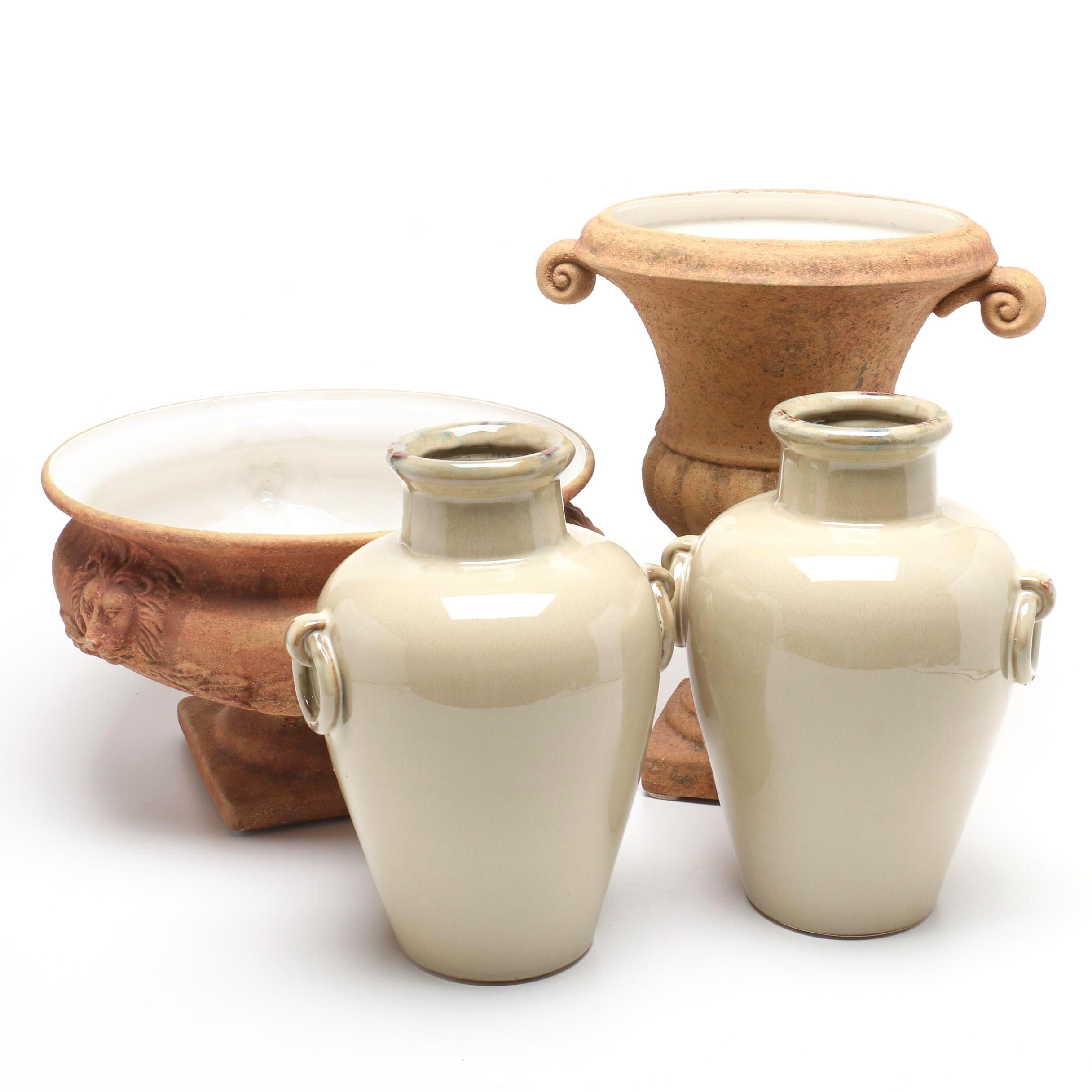 Glazed Ceramic Urns and Vases