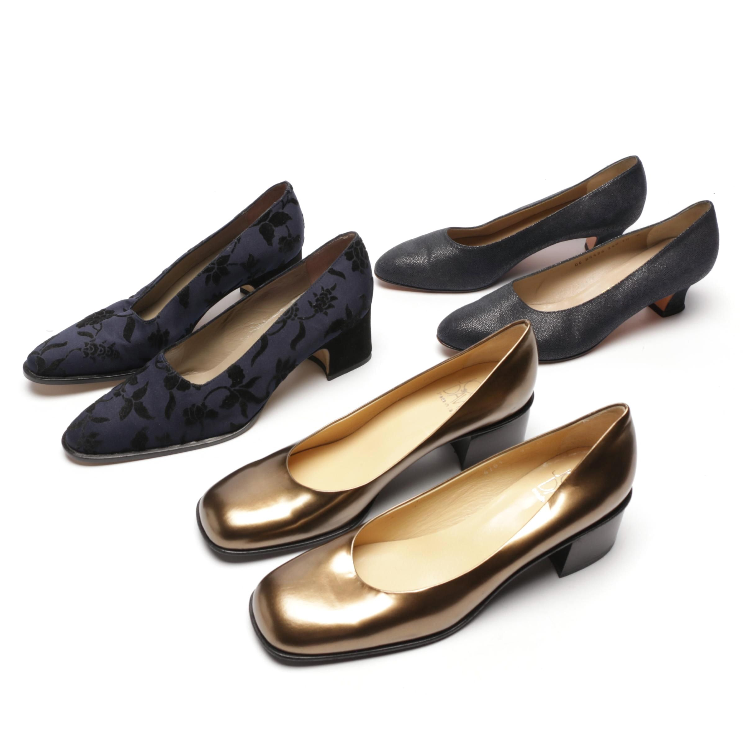 Women's Low-Heeled Shoes Including Salvatore Ferragamo and Joan & David