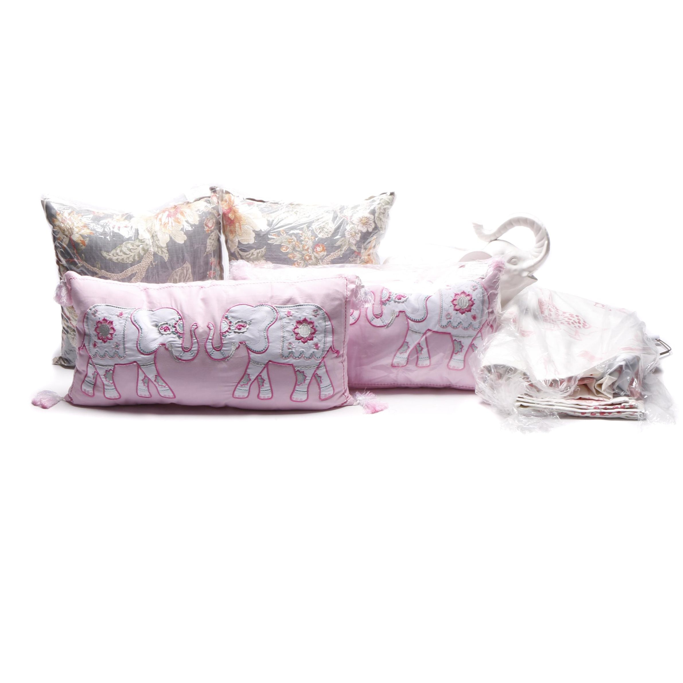 Pink and White Decor Items Including Accent Pillows by Pillow Perfect