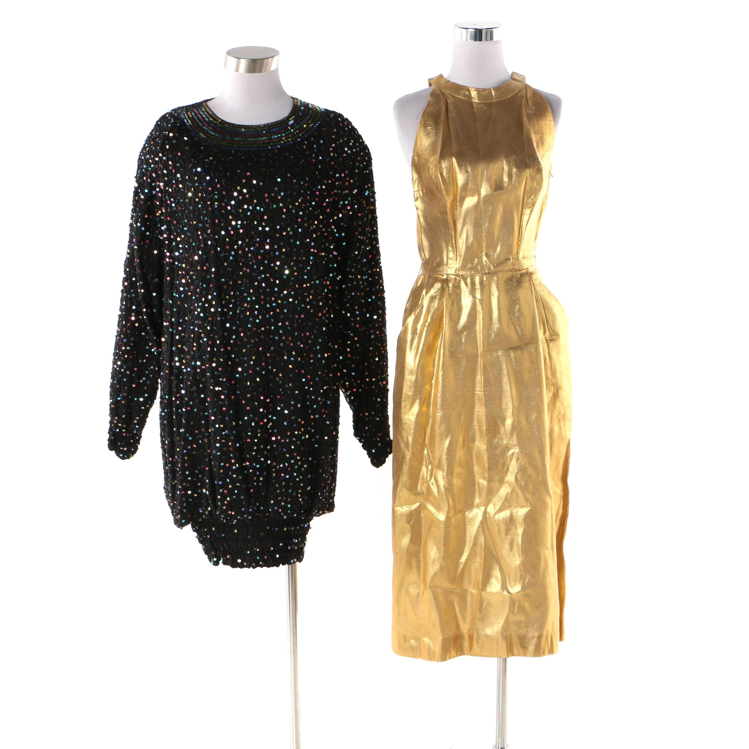 Henry Rosenfeld Gold Lamé and Saks Fifth Avenue Sequined Dresses
