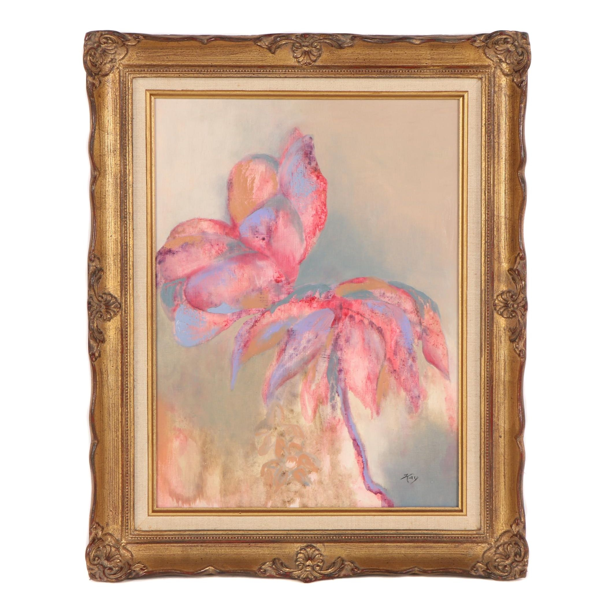 Kay Abstract Floral Oil Painting