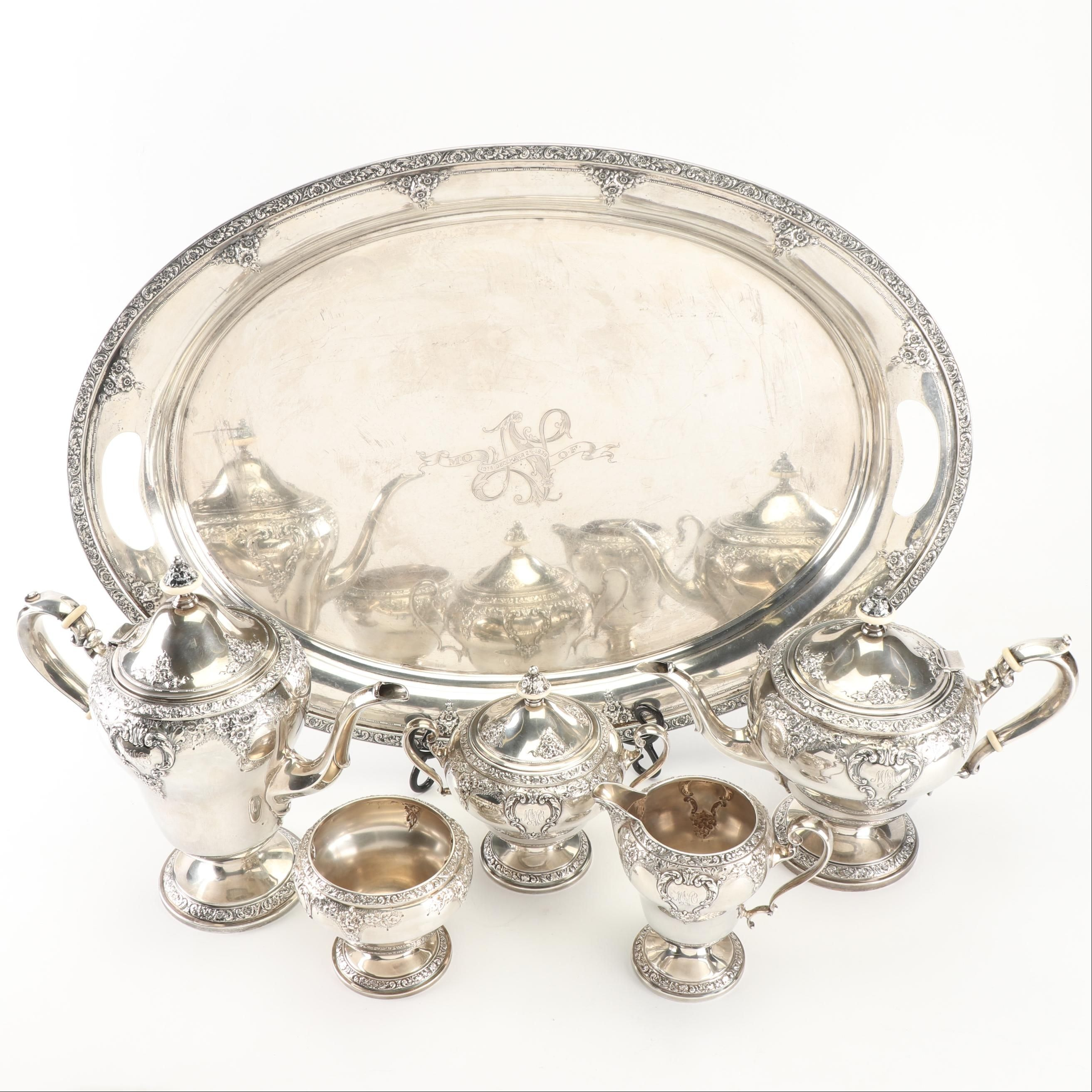 American Sterling Silver Coffee and Tea Service, Watson Silversmiths, circa 1939