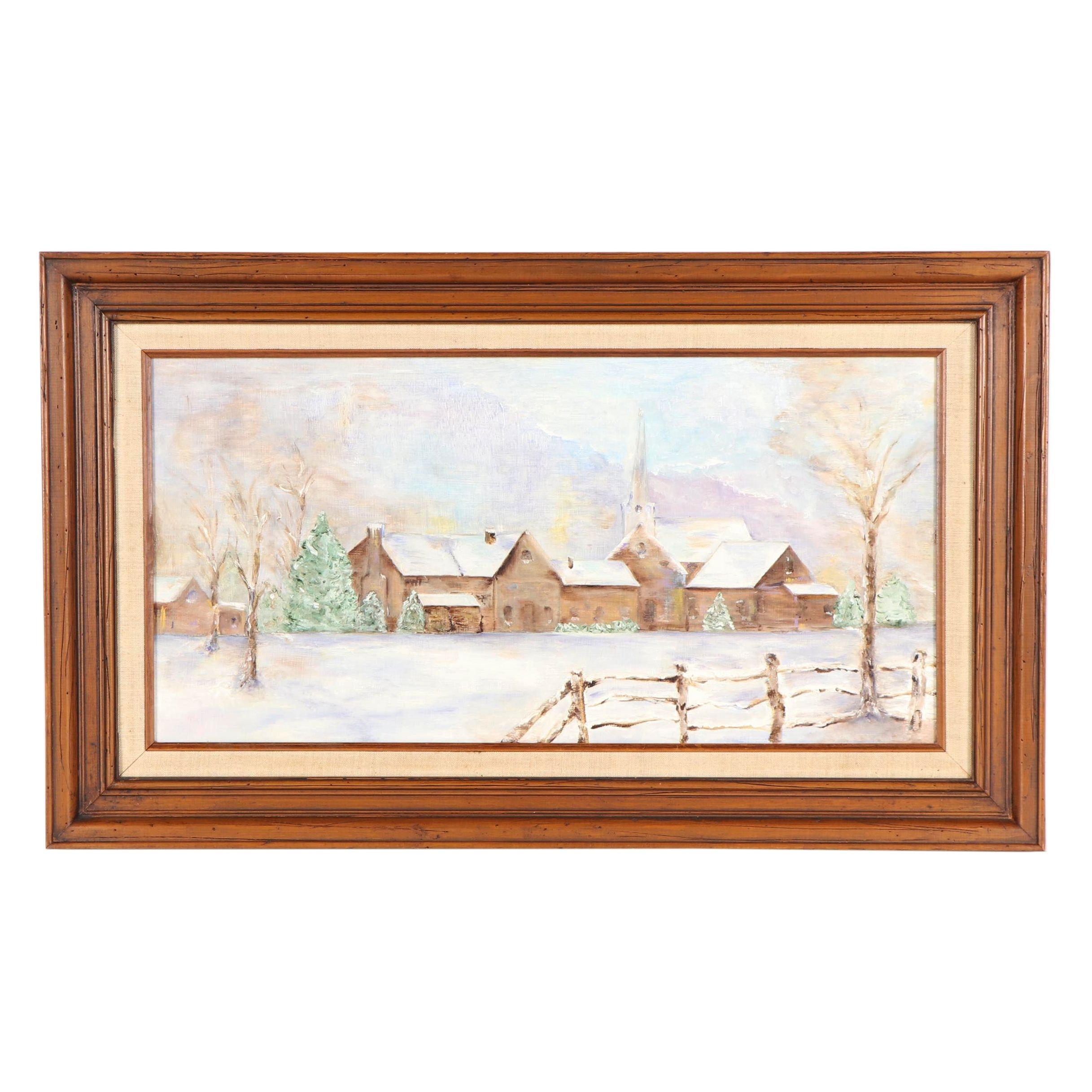Winter Village Scene Oil Painting
