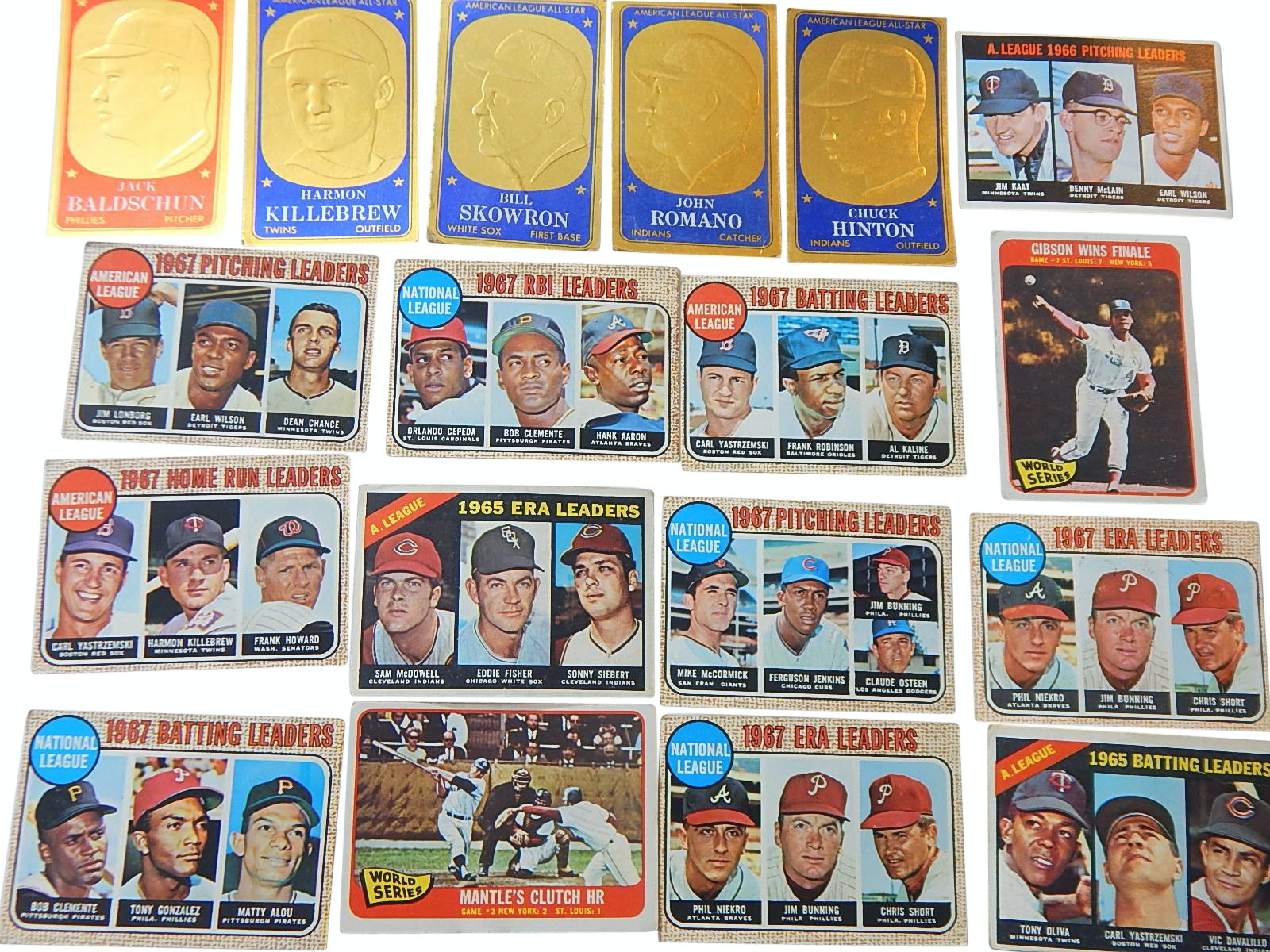 1960s Topps Baseball Leaders Cards and All Star Card Lot with 1965 M.Mantle #134
