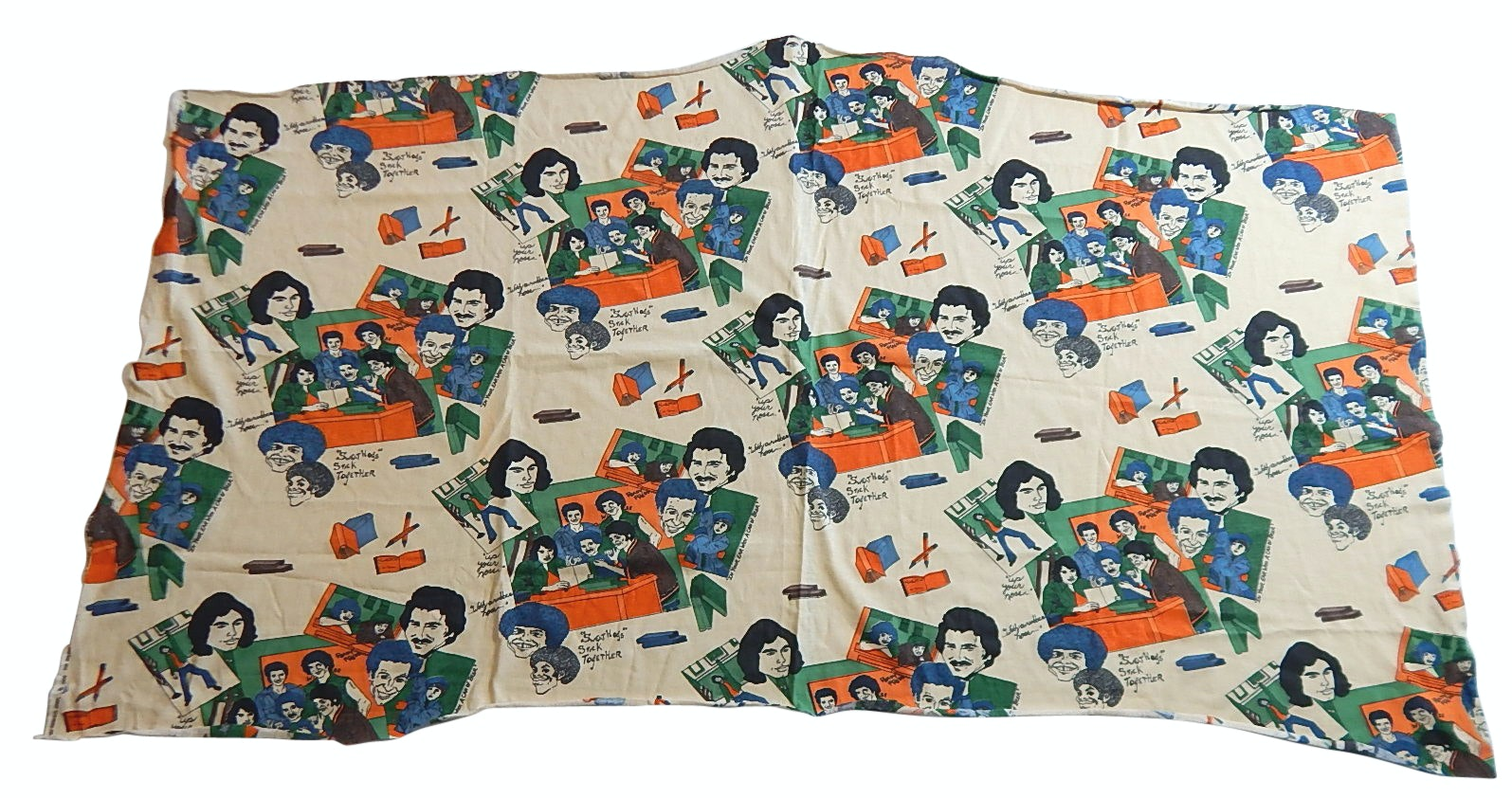 """1970s Jersey Fabric Featuring """"Welcome Back Kotter"""" Animated Characters"""
