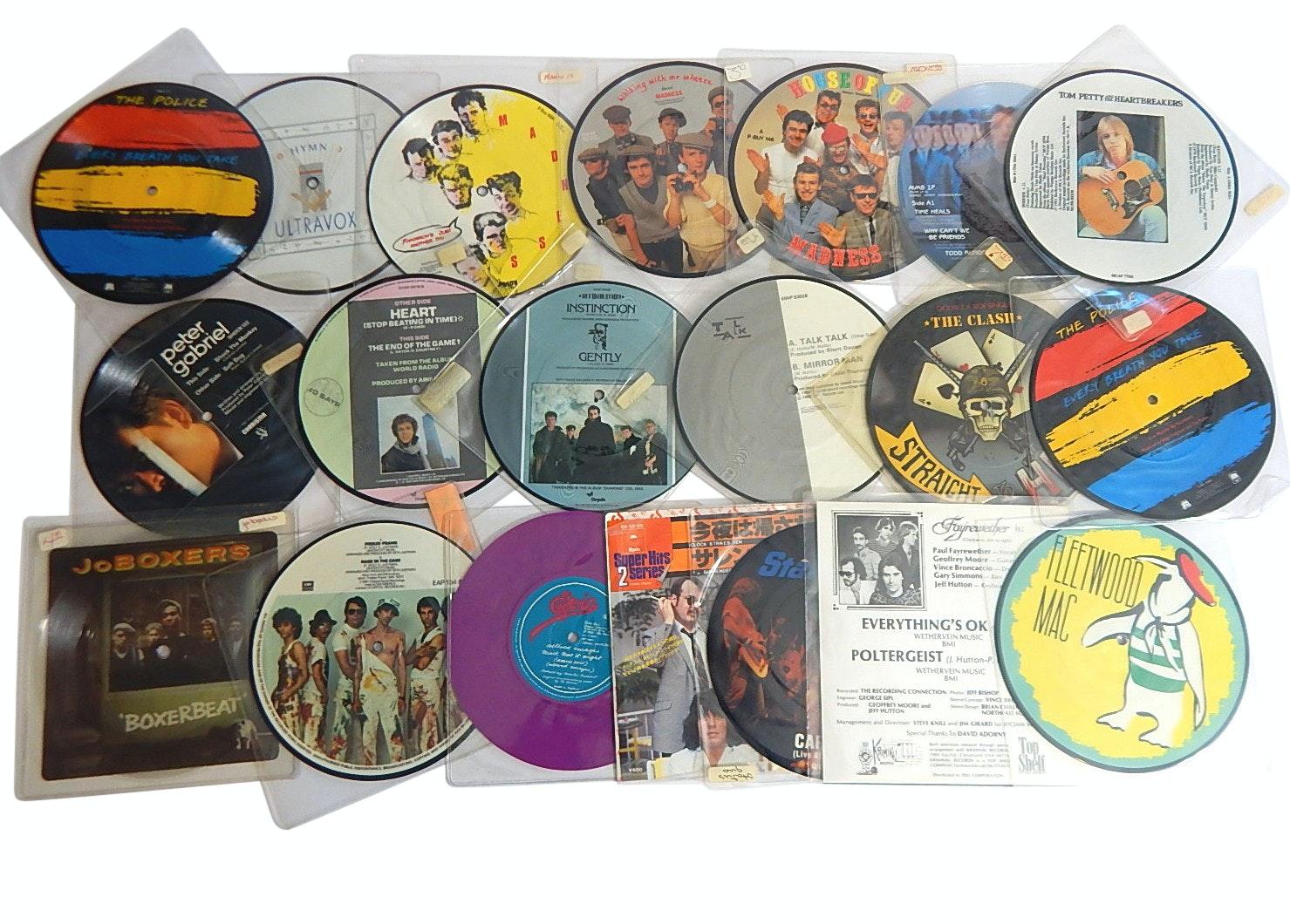 "Vintage 7"" Vinyl Picture Discs with Rock and Pop Genre - 20 Count Lot"