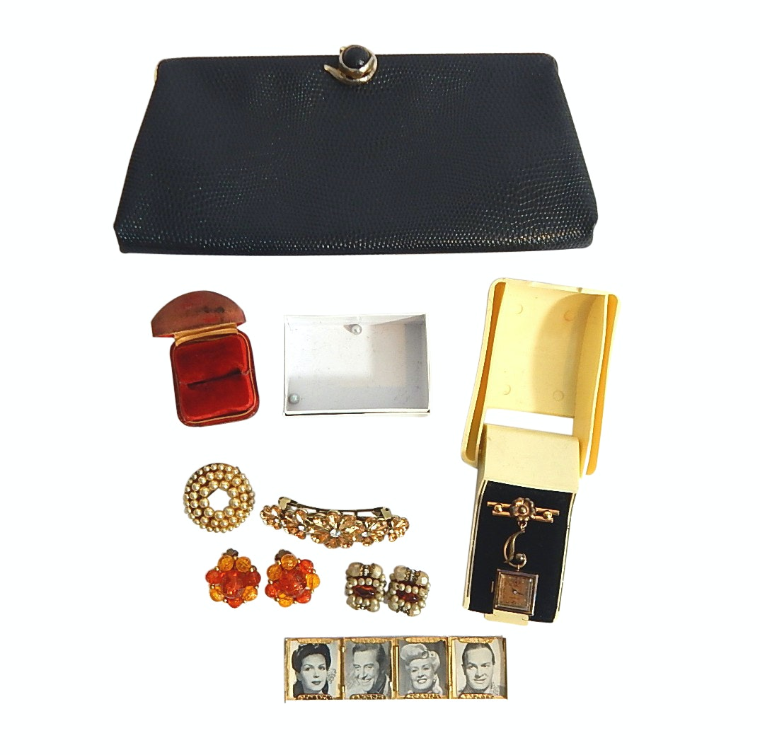 Vintage Harry Levine Clutch Purse, Kingston Pin Watch, Costume Earrings and More