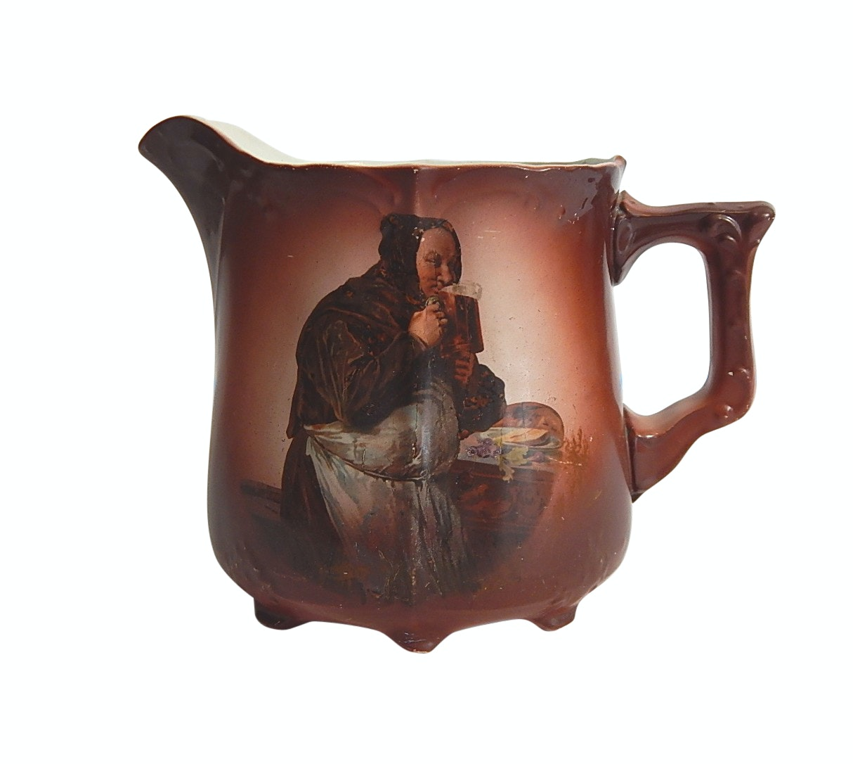 Antique Monk Drinking Beer Transferware Porcelain Handled Water Pitcher