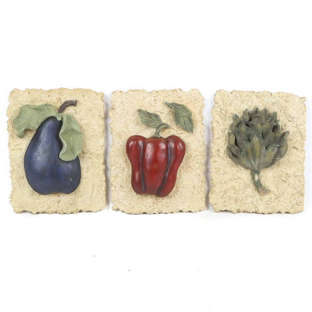 Stoneware Style Vegetable Themed Wall Plaques