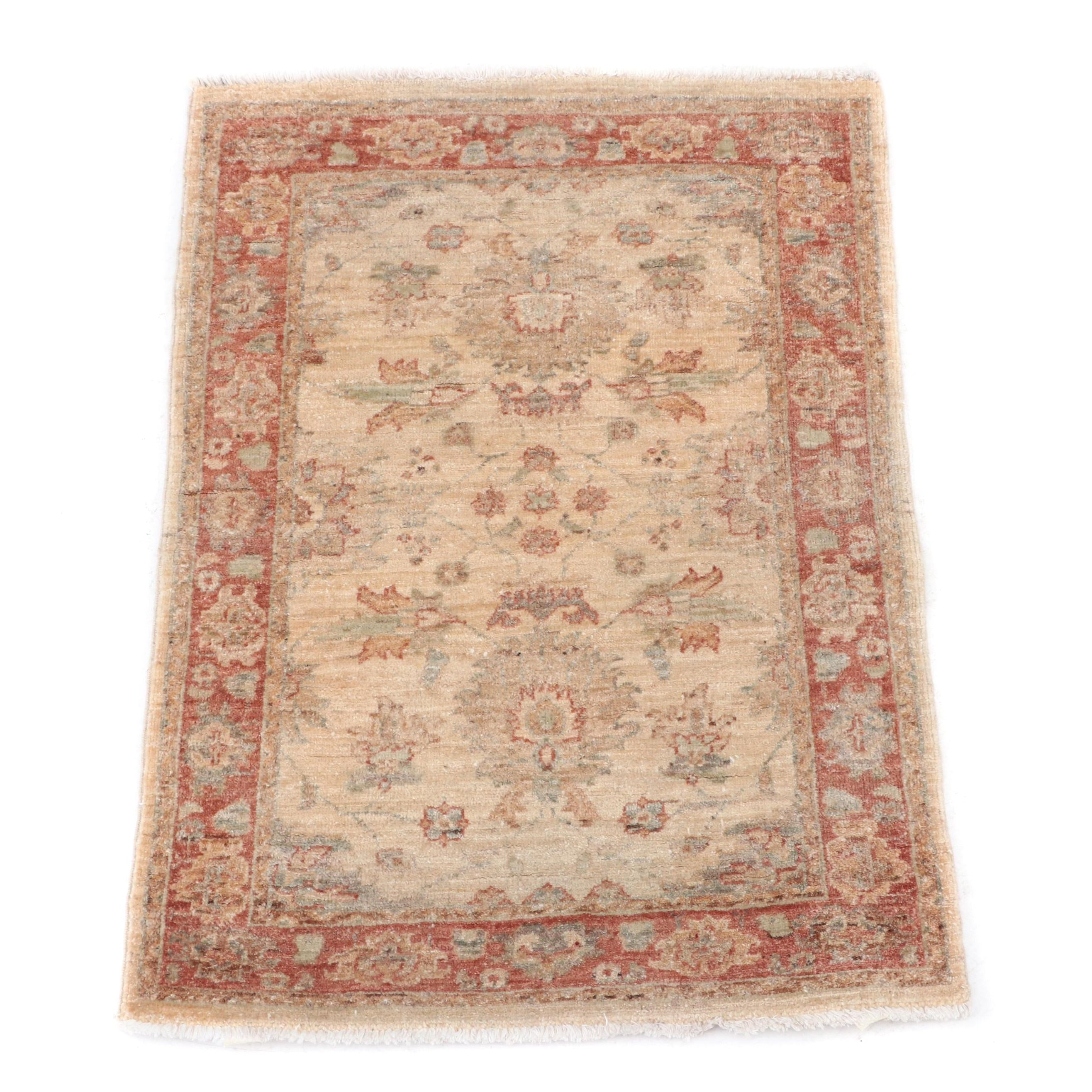 Hand-Knotted Oushak Wool Pile Rug