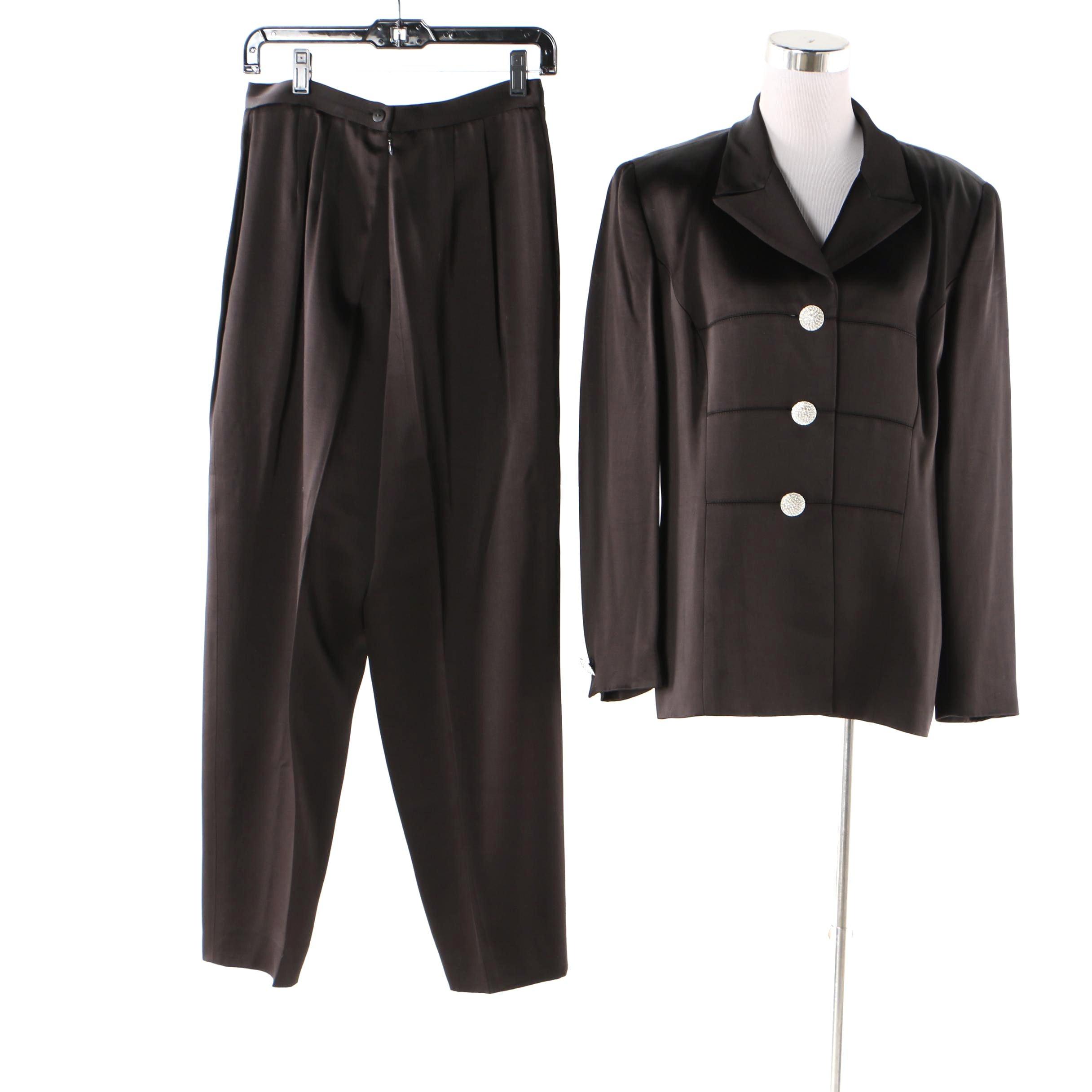 1980s Kelly Graham Black Evening Pantsuit