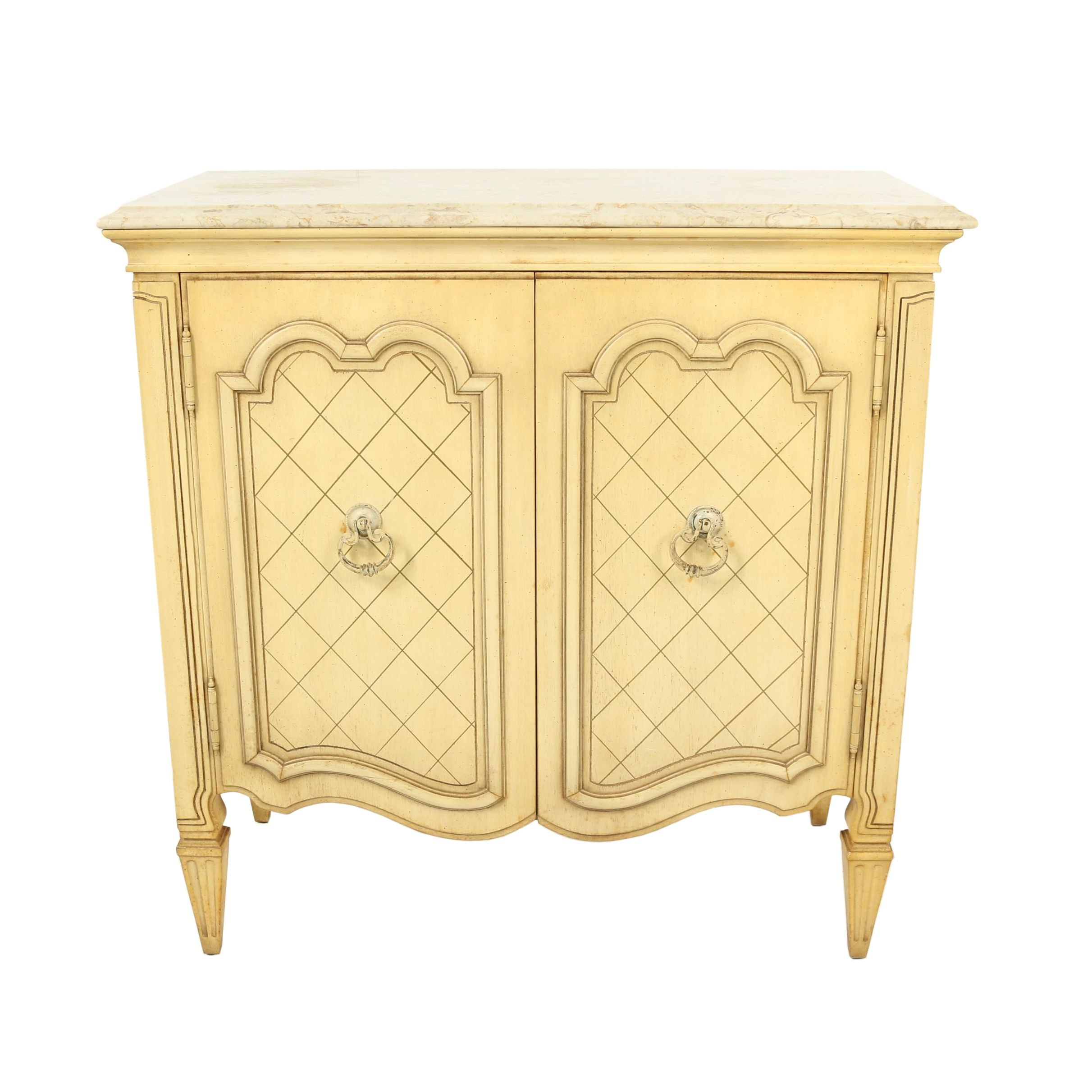 Louis XVI Style Stone Top Painted Wooden Side Cabinet with Outlet, 20th Century