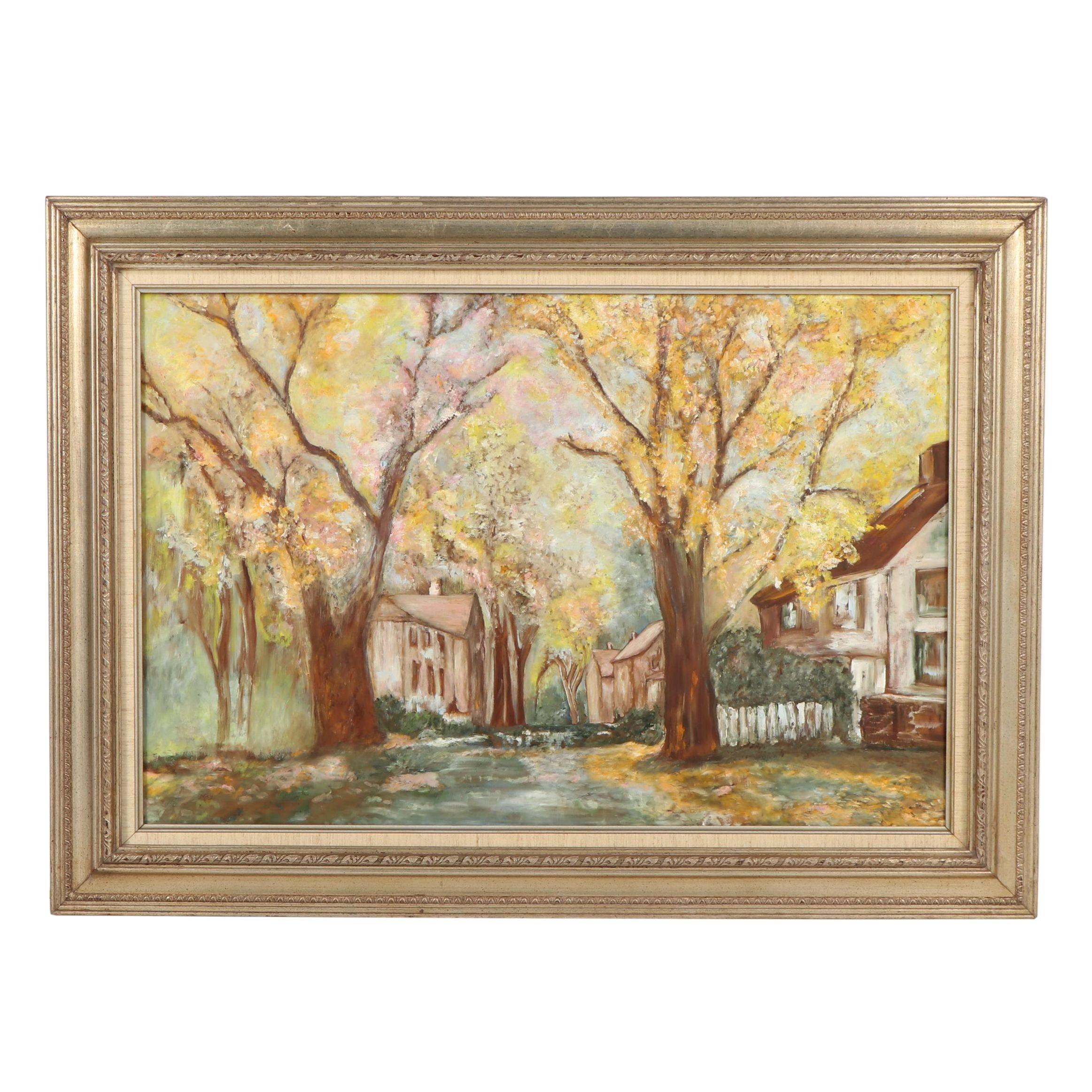 Oil Painting of Neighborhood Street Scene