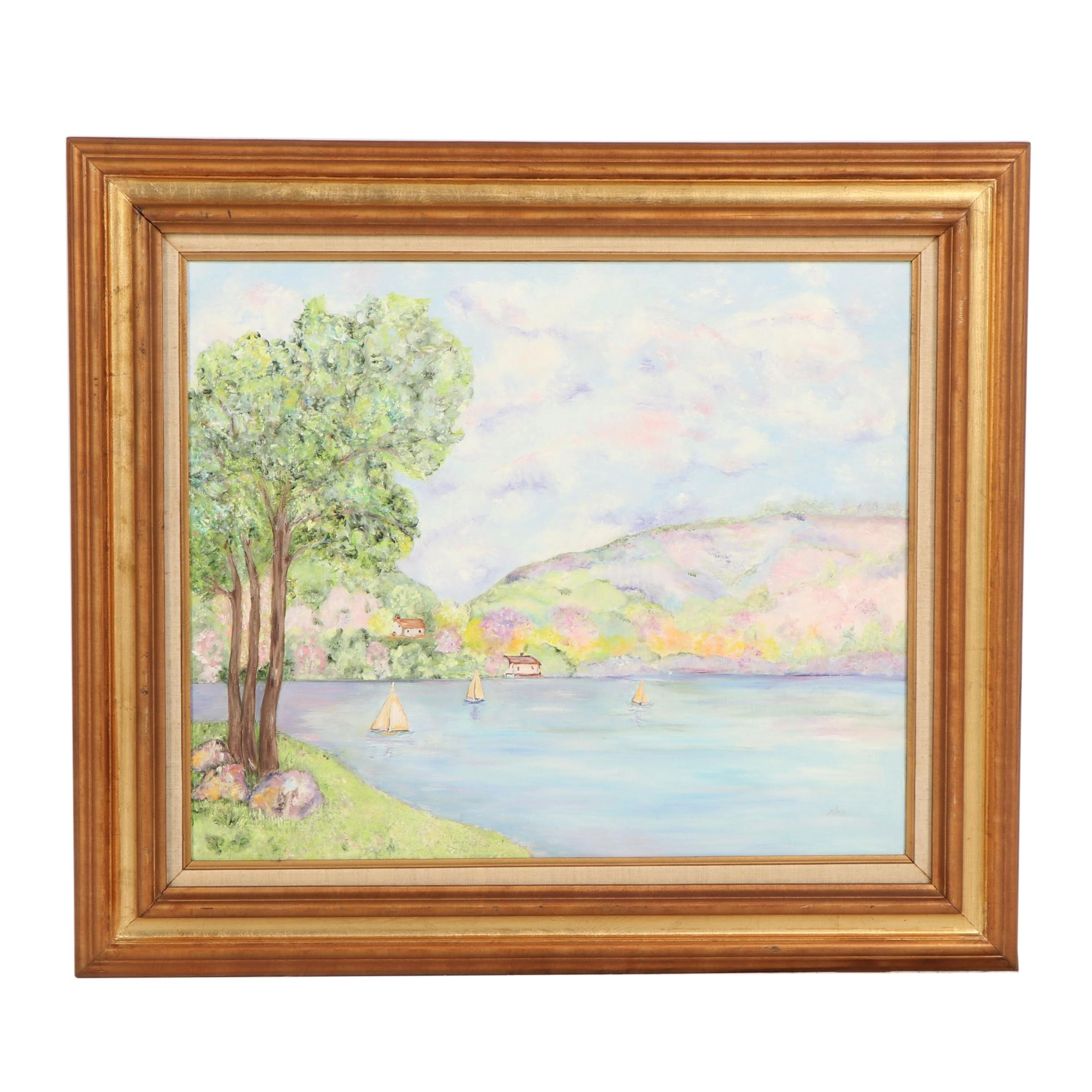 Kay Oil Painting of Lake Scene