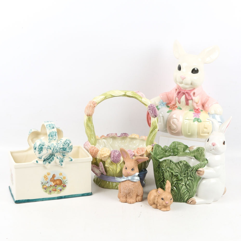 Ceramic Rabbits and Other Easter Decor Including Silvestri and Omnibus