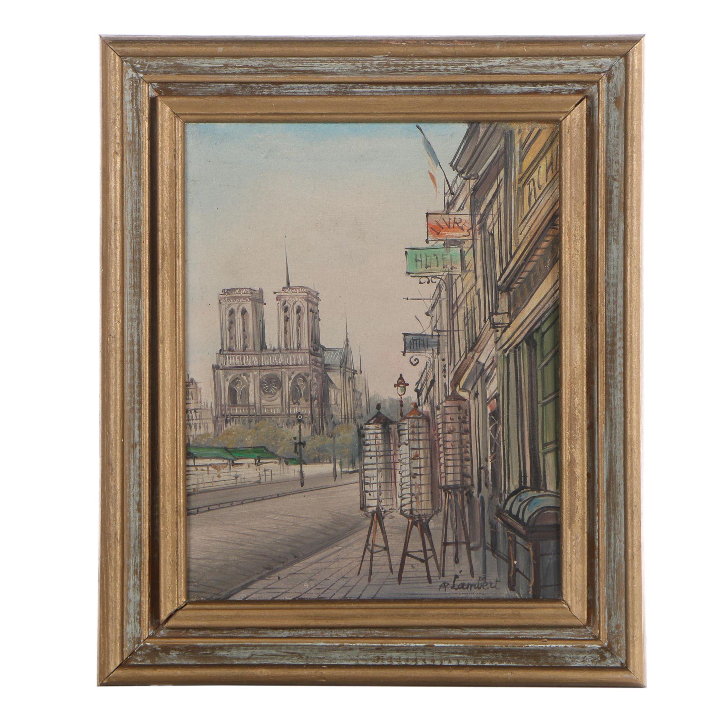 A. Lambert Street View Oil Painting